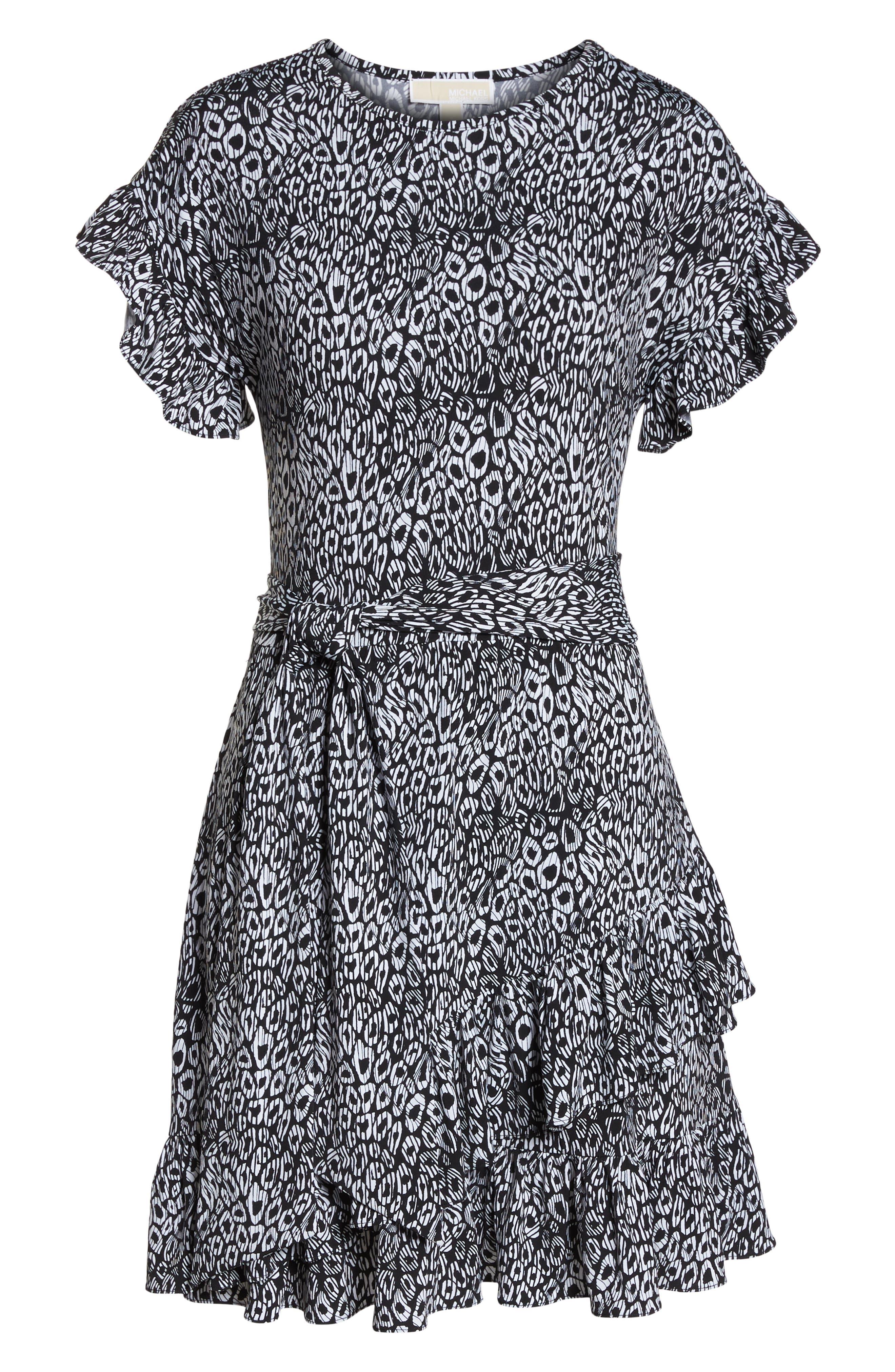 Wavy Leopard Print Ruffle Dress,                             Alternate thumbnail 7, color,                             Black/ White