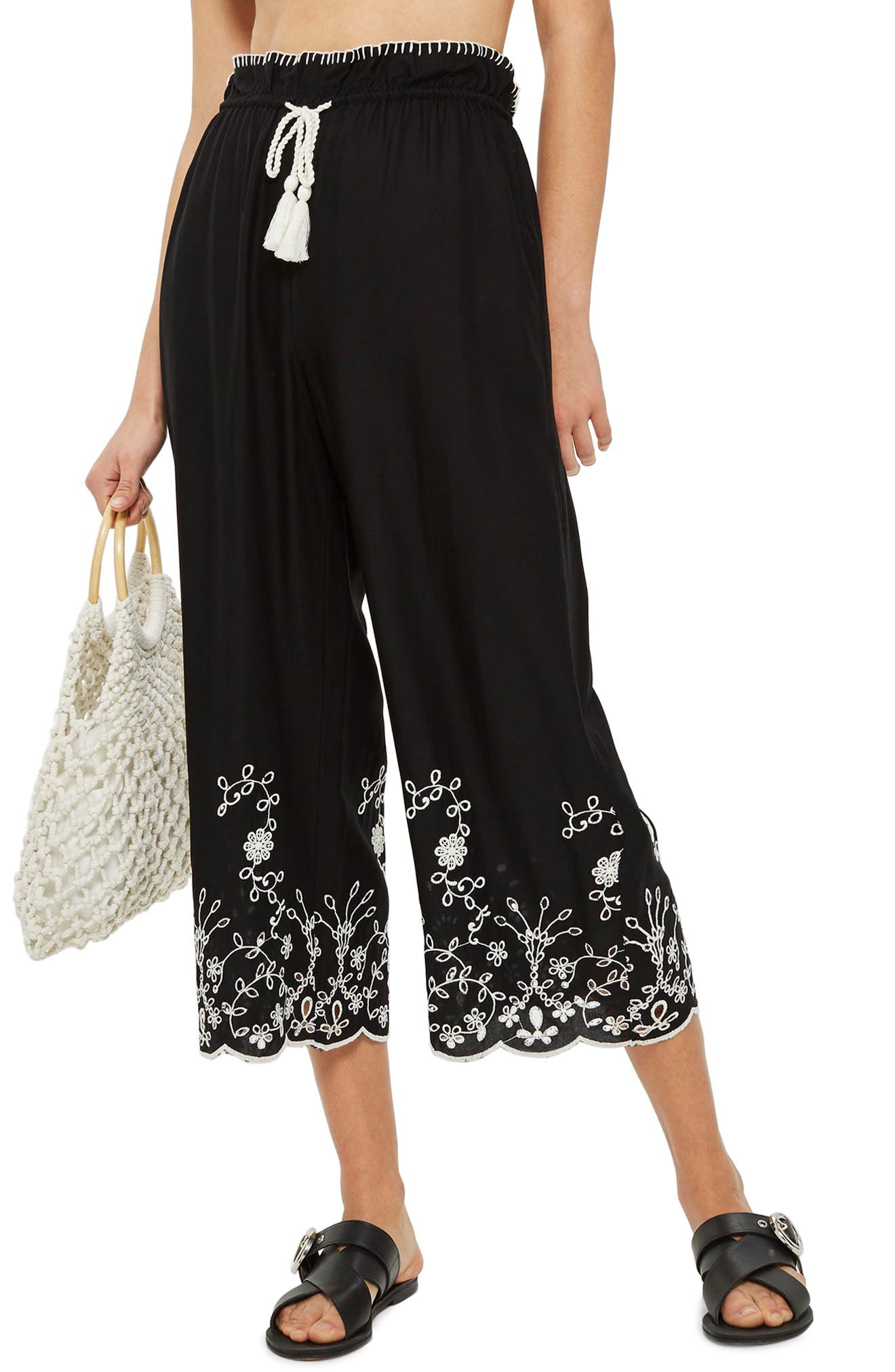 Embroidered Crop Wide Trousers,                         Main,                         color, Black Multi