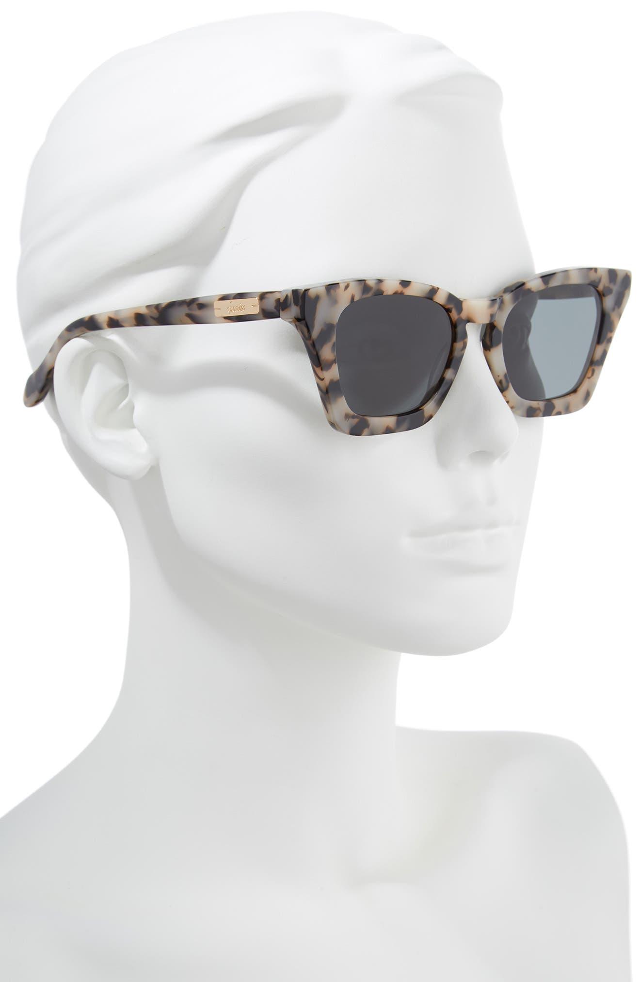 Ginza 50mm Cat Eye Sunglasses,                             Alternate thumbnail 2, color,                             Milk Tortoise/ Black Solid