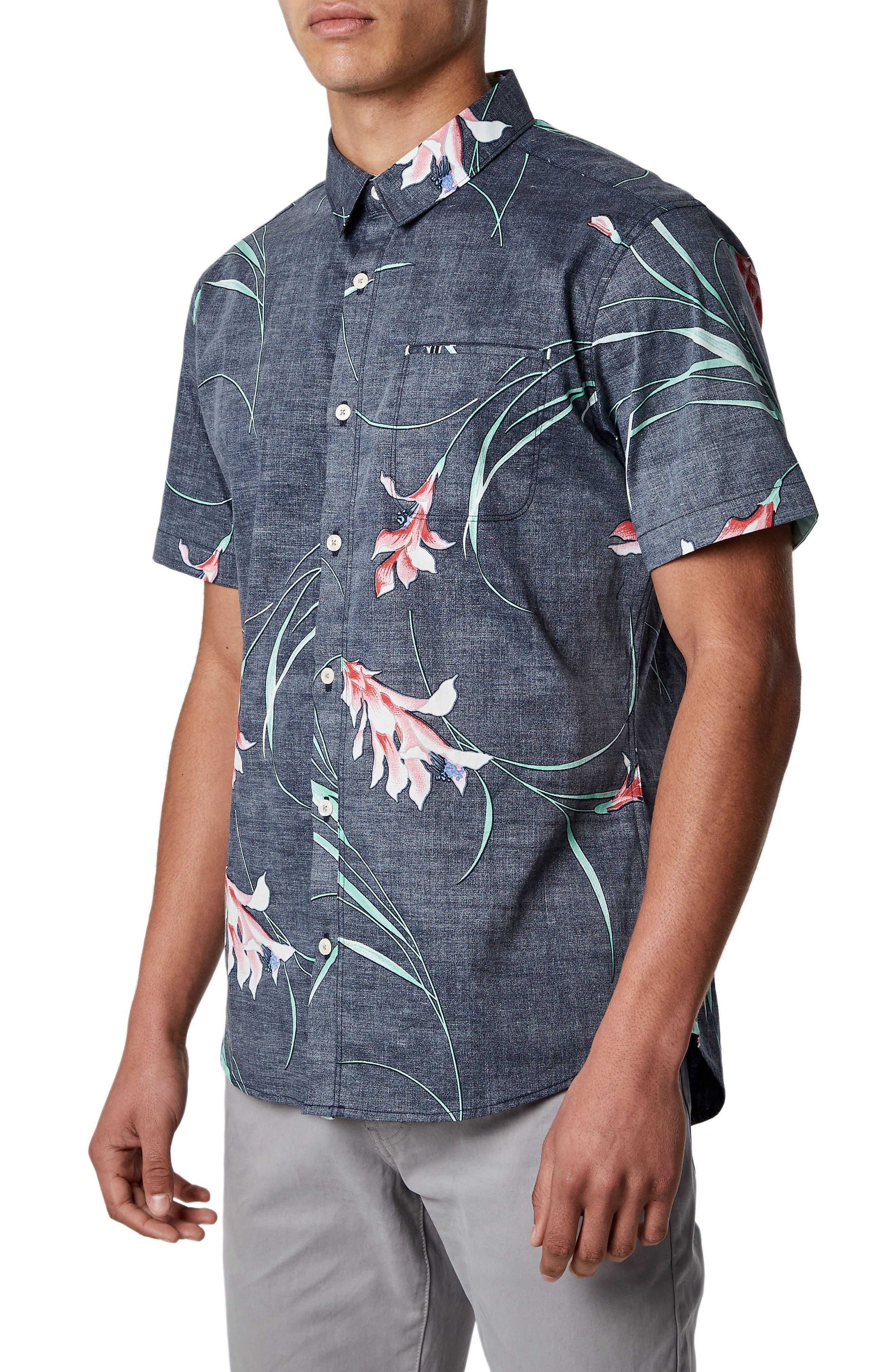 Inner Bloom Trim Fit Stretch Sport Shirt,                             Alternate thumbnail 4, color,                             Navy