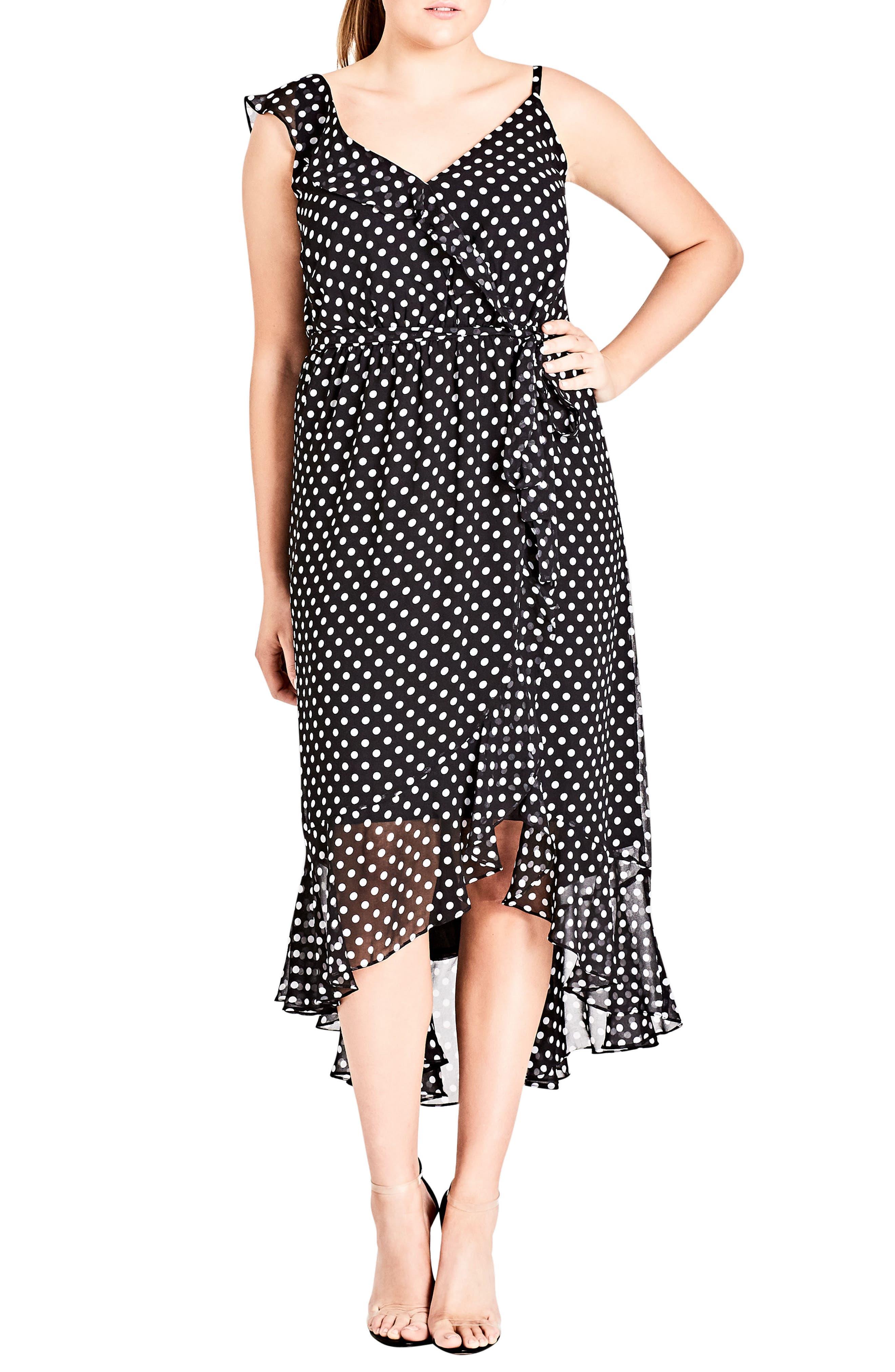 Dot Asymmetrical Wrap Dress,                             Main thumbnail 1, color,                             White Spot