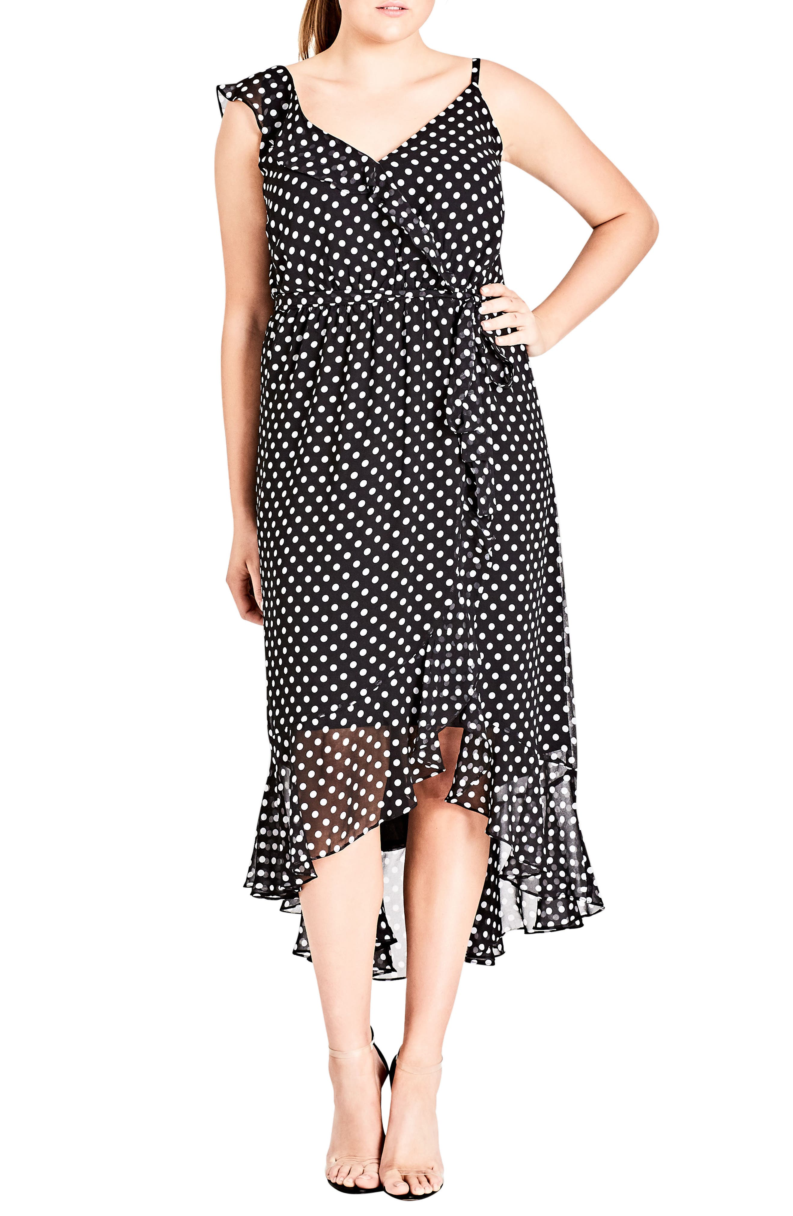 City Chic Dot Asymmetrical Wrap Dress (Plus Size)