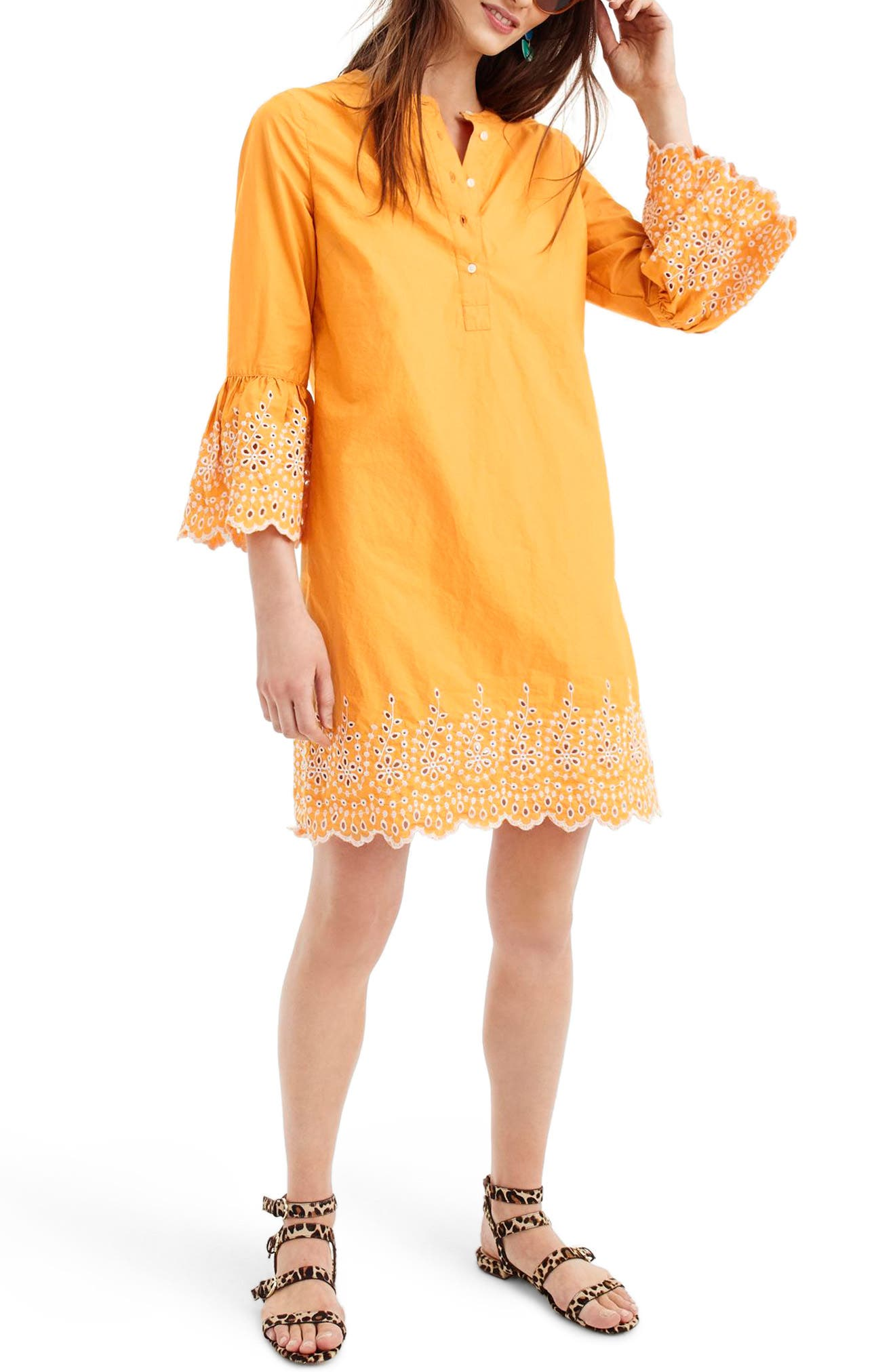 J.Crew Eyelet Bell Sleeve Dress,                         Main,                         color, Bronzed Orange