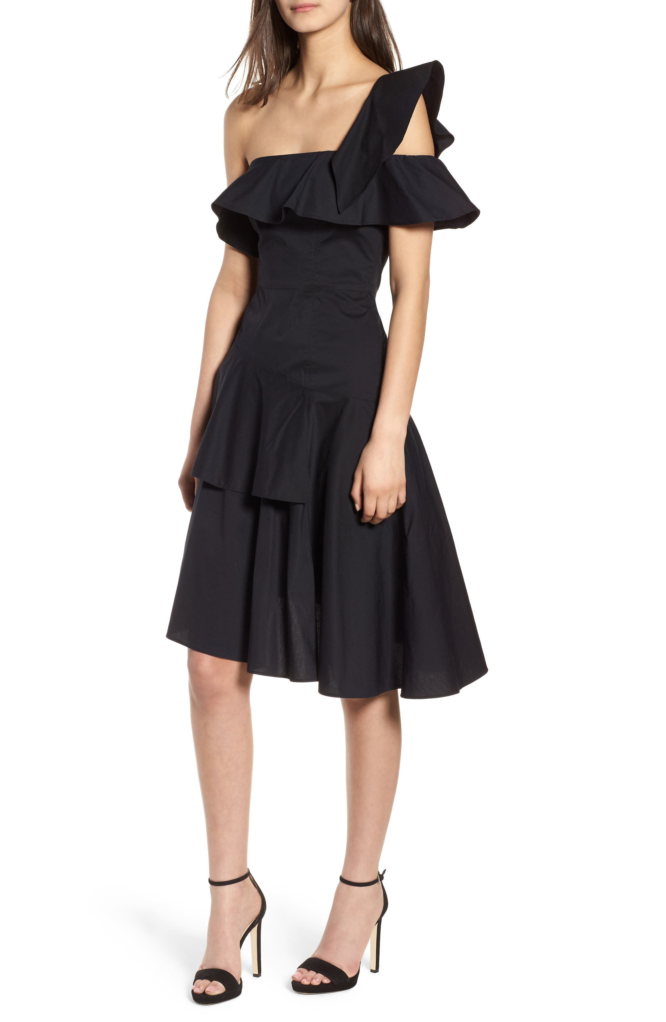 Ruffle One-Shoulder Dress,                             Alternate thumbnail 7, color,                             Black