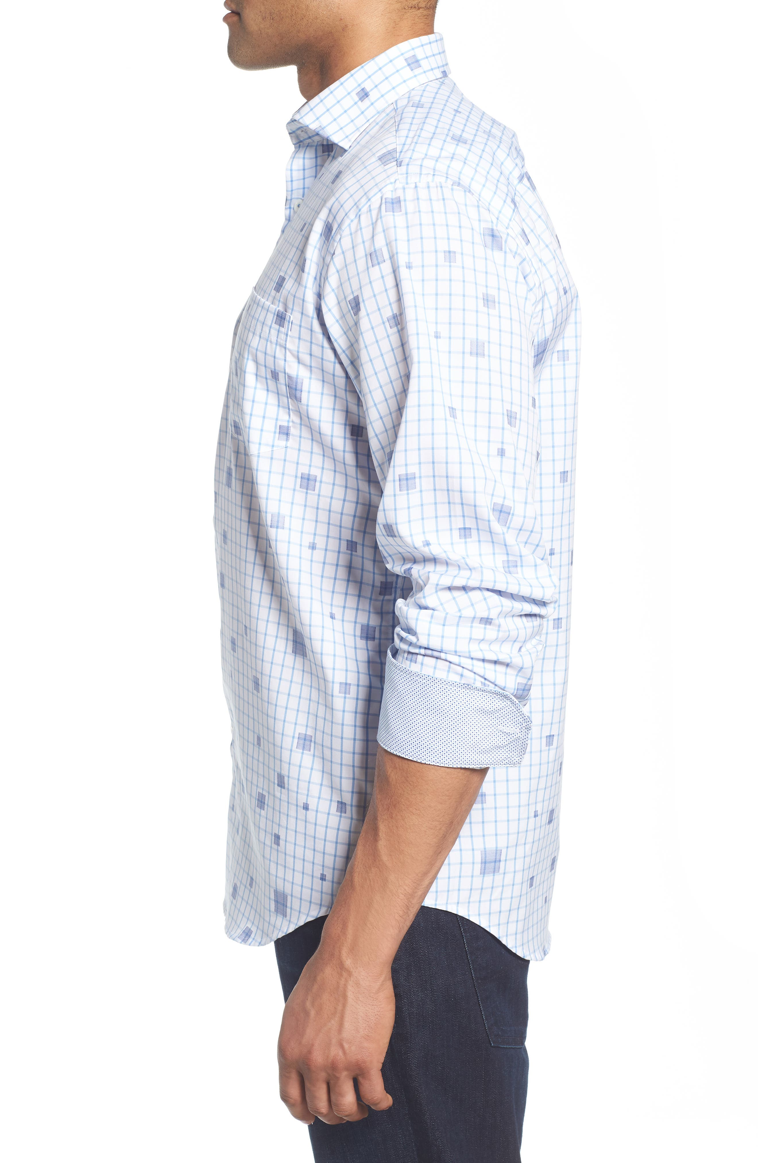 Classic Fit Square Check Sport Shirt,                             Alternate thumbnail 4, color,                             Classic Blue