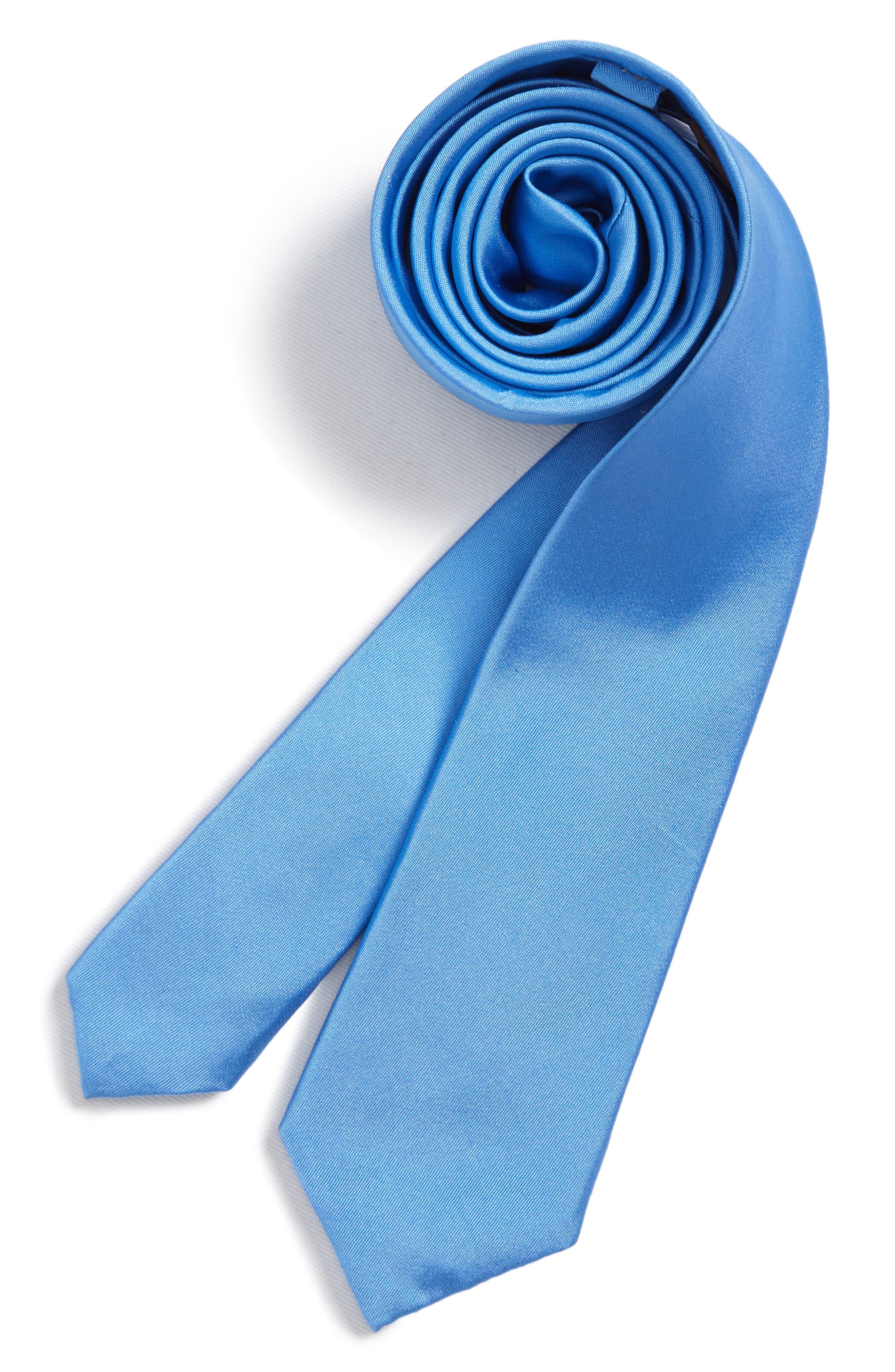 Matte Satin Silk Tie,                             Main thumbnail 1, color,                             Blue