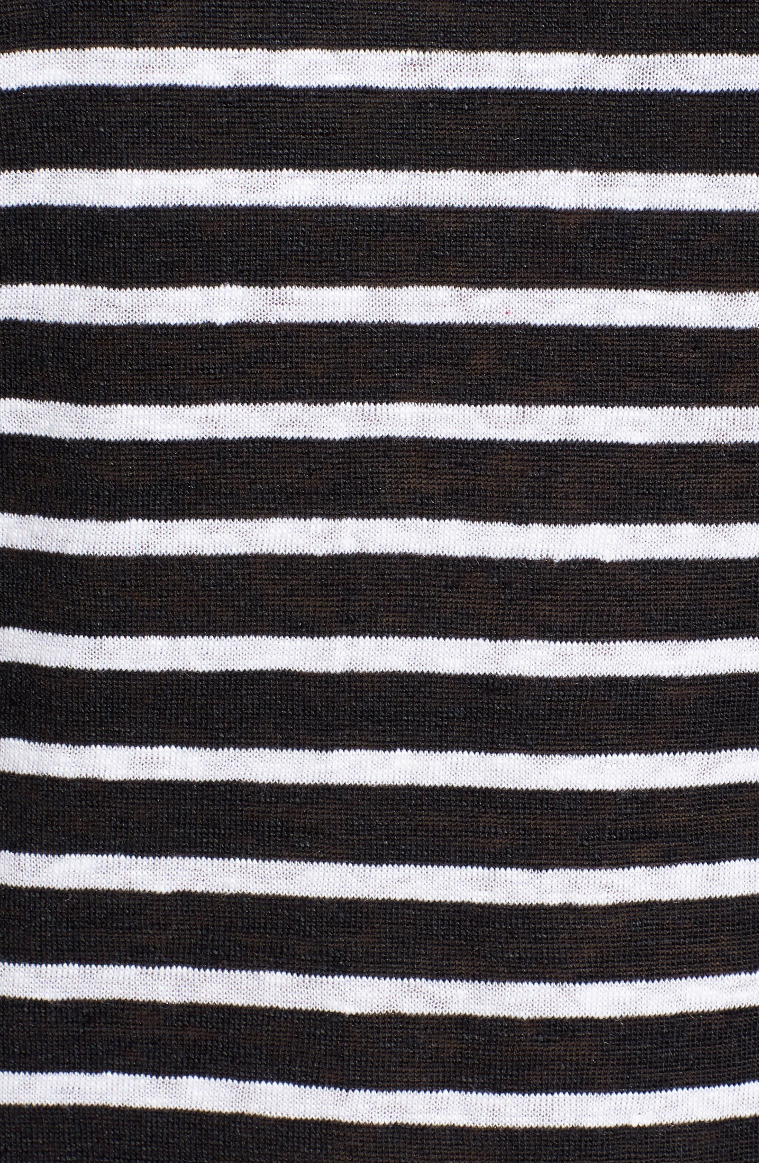 Stripe Organic Linen Top,                             Alternate thumbnail 6, color,                             Black/ White