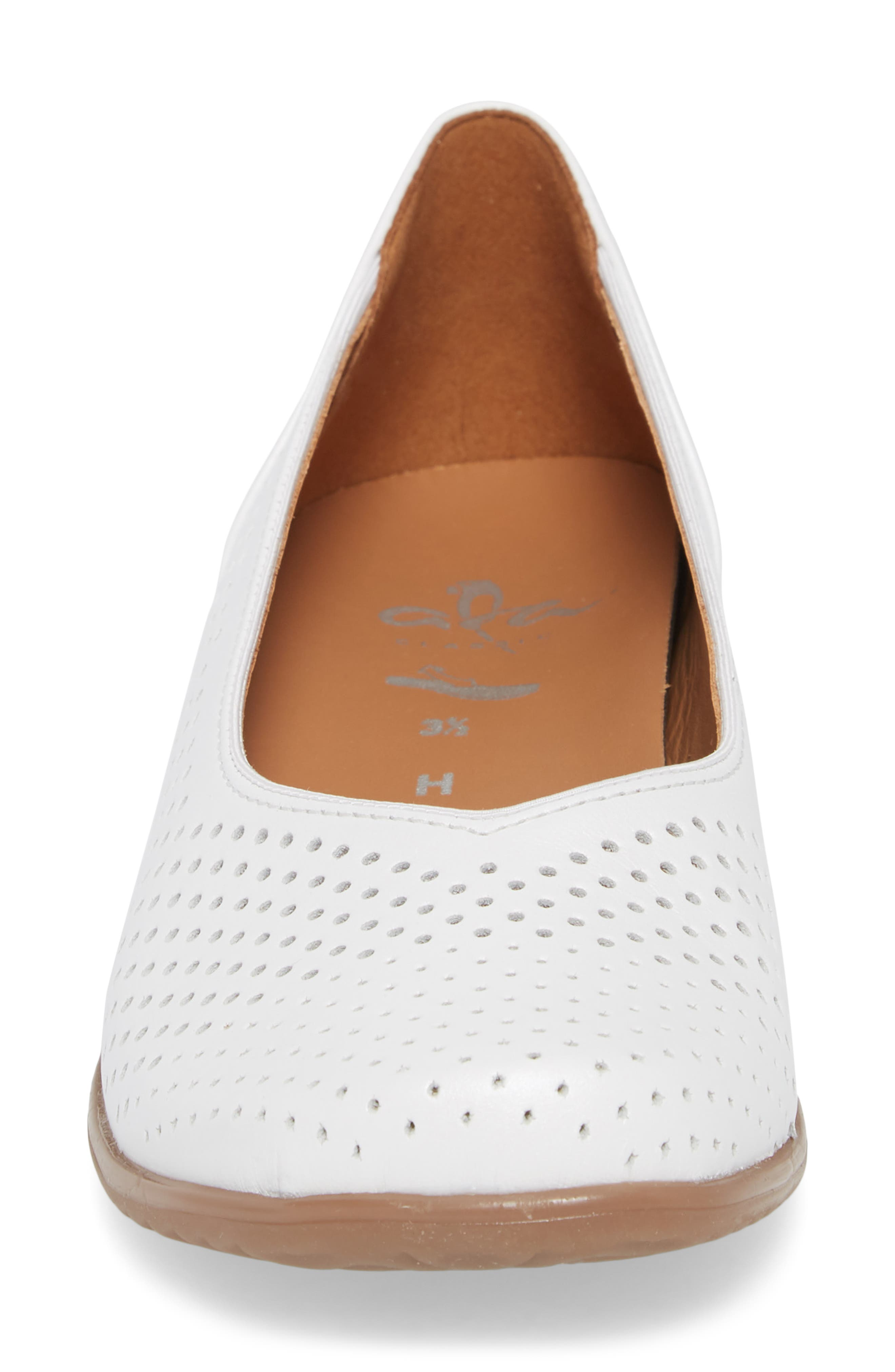 Avril Perforated Flat,                             Alternate thumbnail 4, color,                             White Pearl Leather