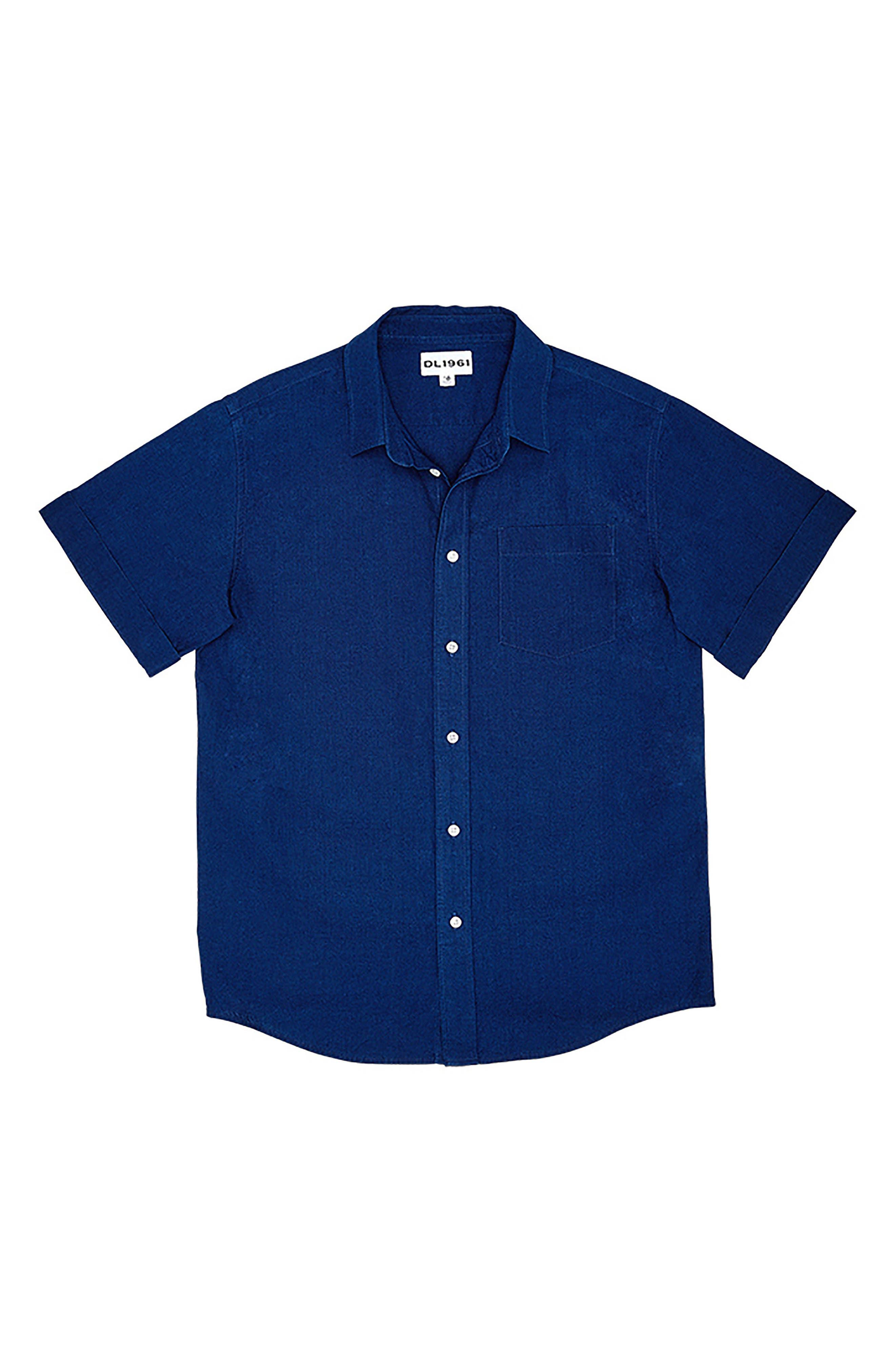 DL 1961 Ash Woven Shirt,                             Main thumbnail 1, color,                             Indigo Plaid