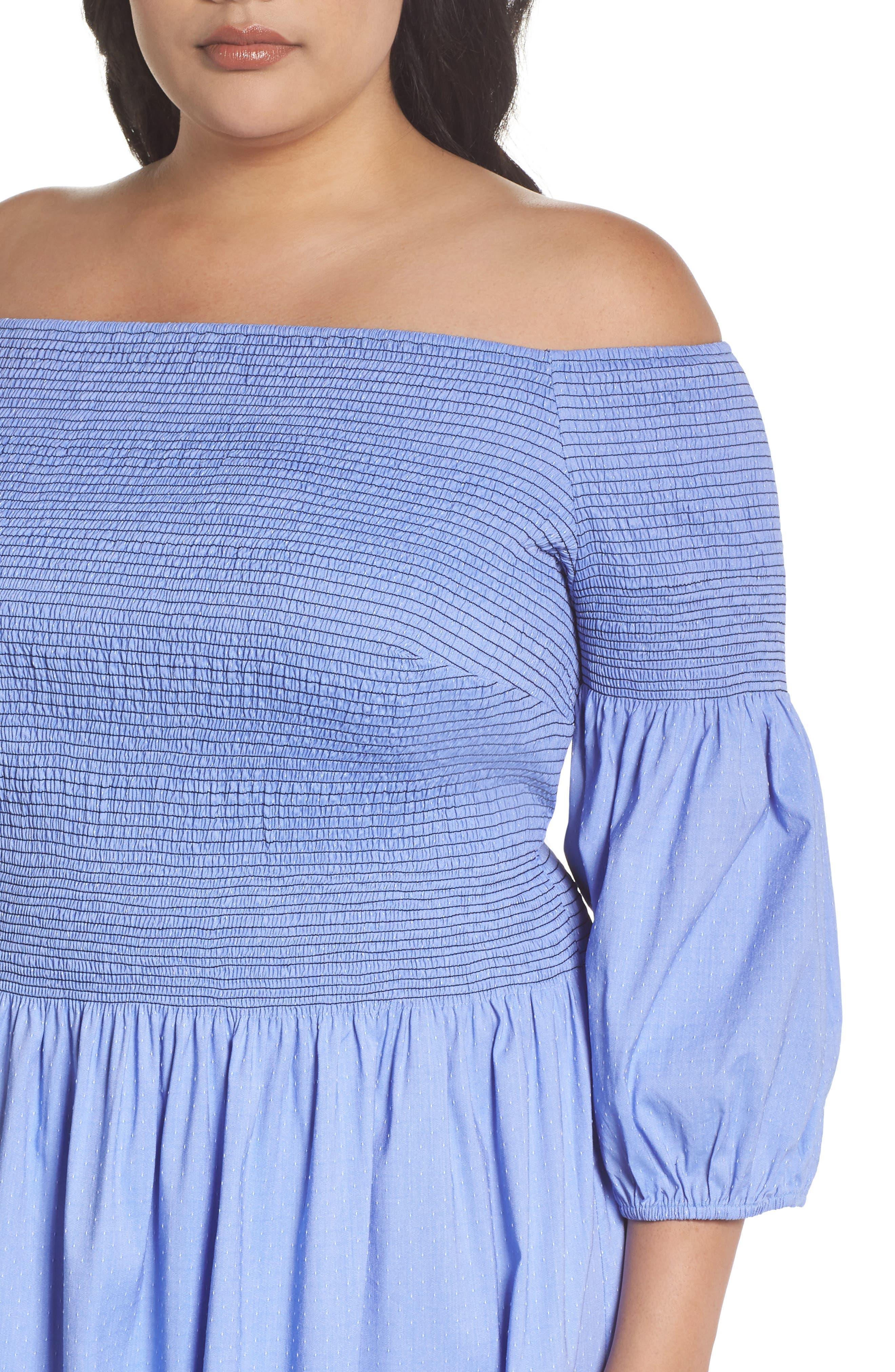 Off the Shoulder Smocked Bodice Midi Dress,                             Alternate thumbnail 4, color,                             Blue Ivory Swiss Dot