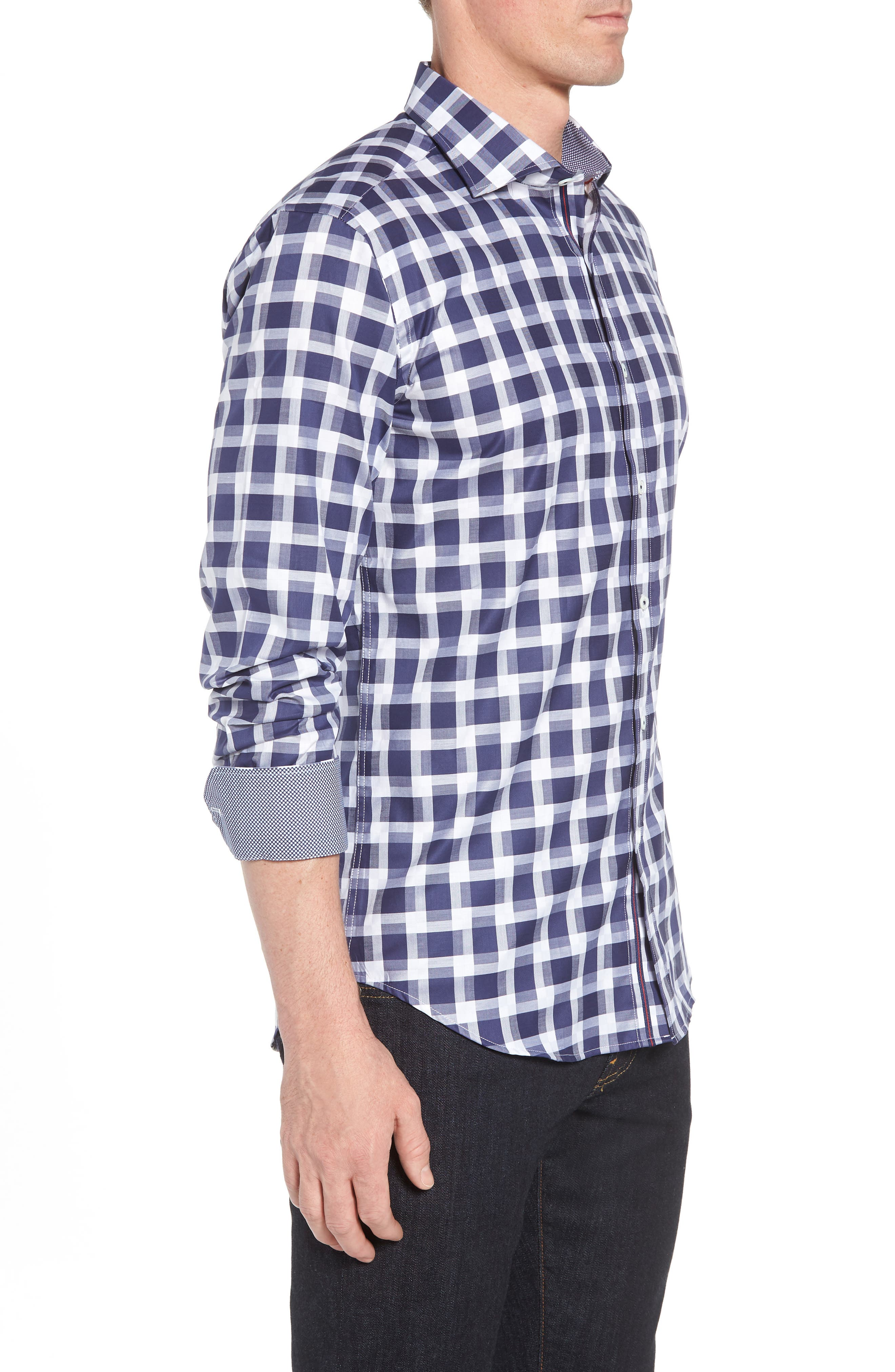 Shaped Fit Layered Grid Sport Shirt,                             Alternate thumbnail 4, color,                             Navy