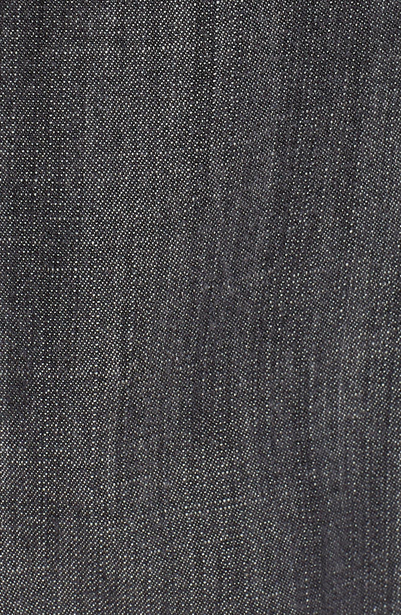 Crop Denim Jacket,                             Alternate thumbnail 6, color,                             Black