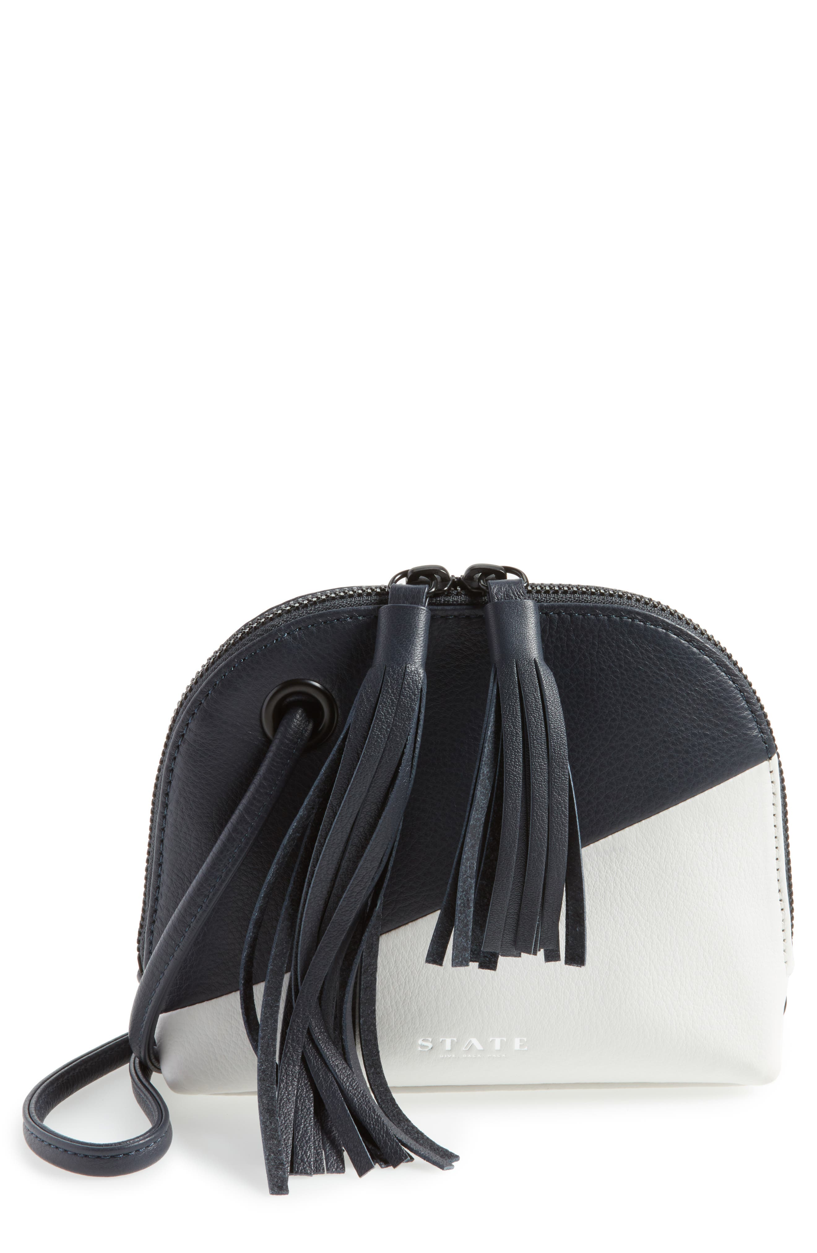 Kay Colorblock Leather Crossbody,                         Main,                         color, Navy/ White