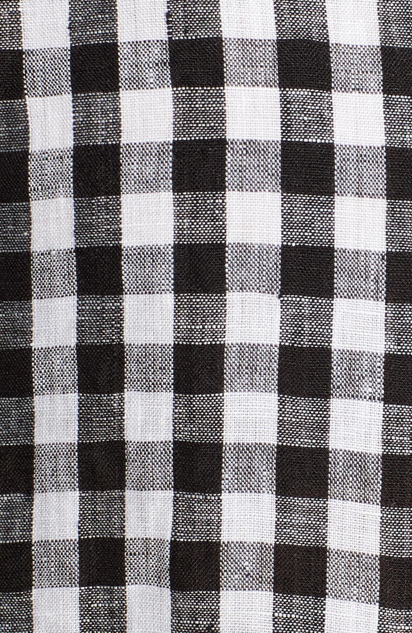 Gingham Organic Linen Top,                             Alternate thumbnail 6, color,                             Black/ White