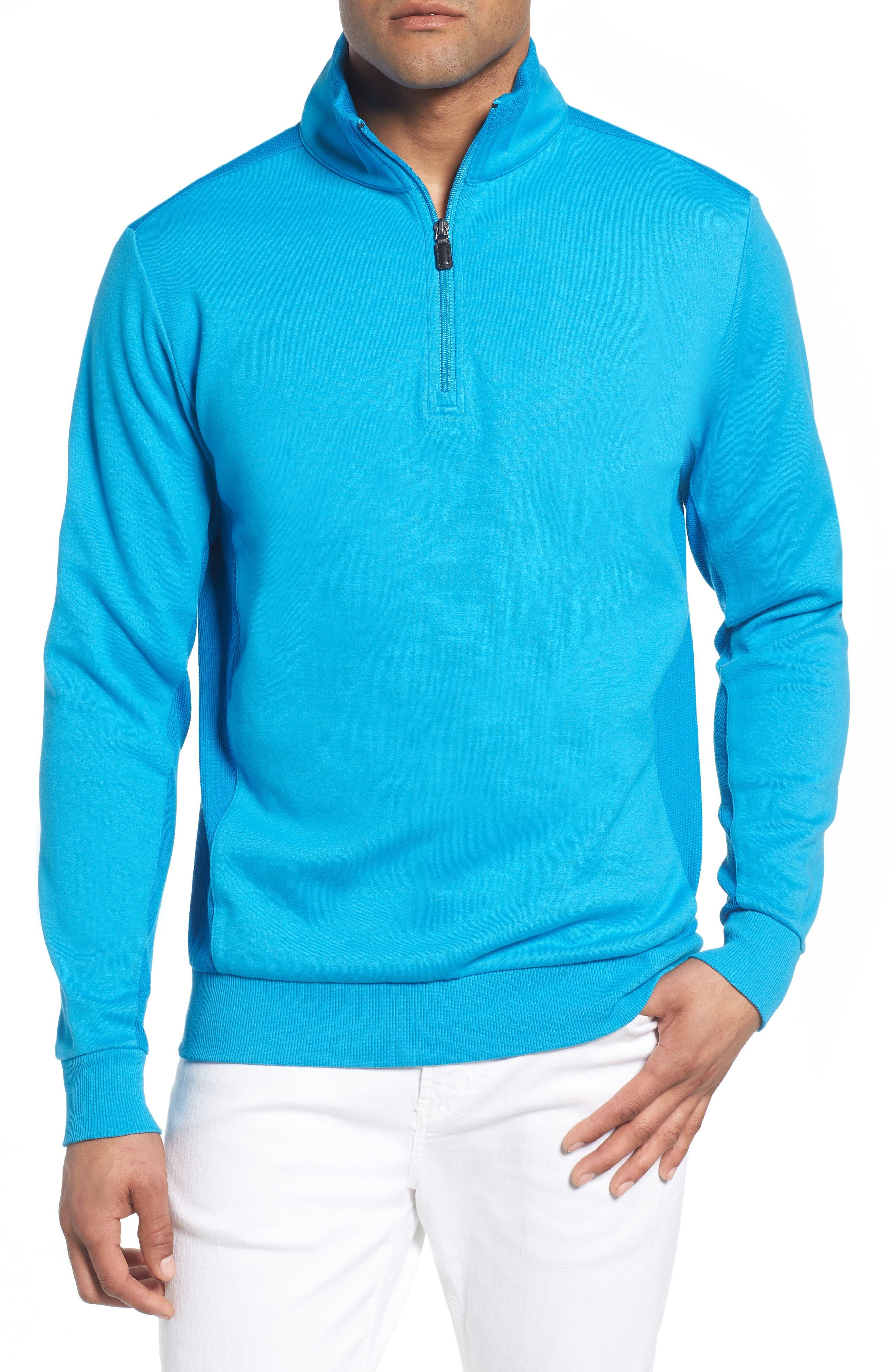 Regular Fit Knit Quarter Zip Pullover,                         Main,                         color, Turquoise