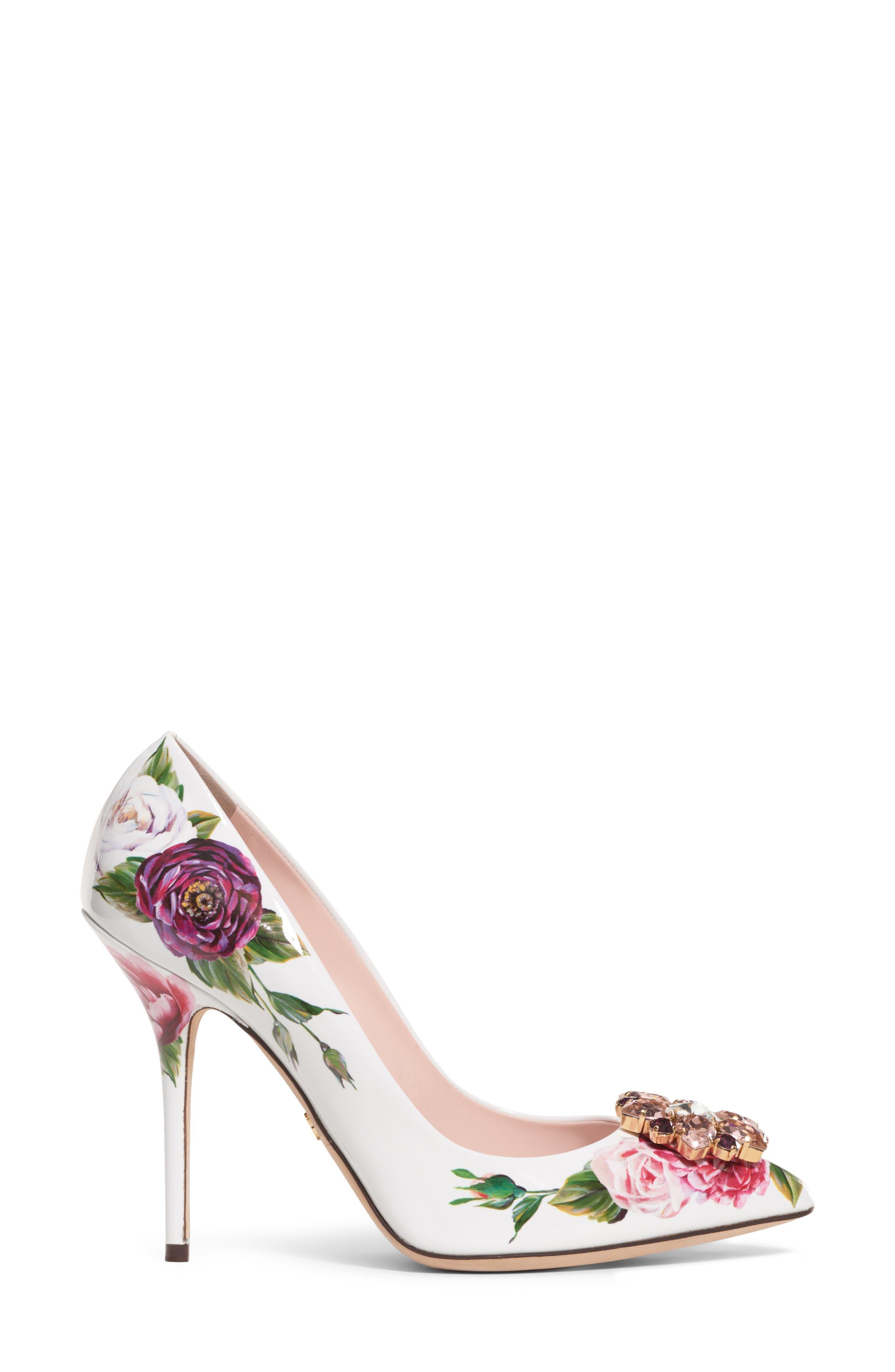 Crystal Embellished Floral Pump,                             Alternate thumbnail 3, color,                             White/ Pink
