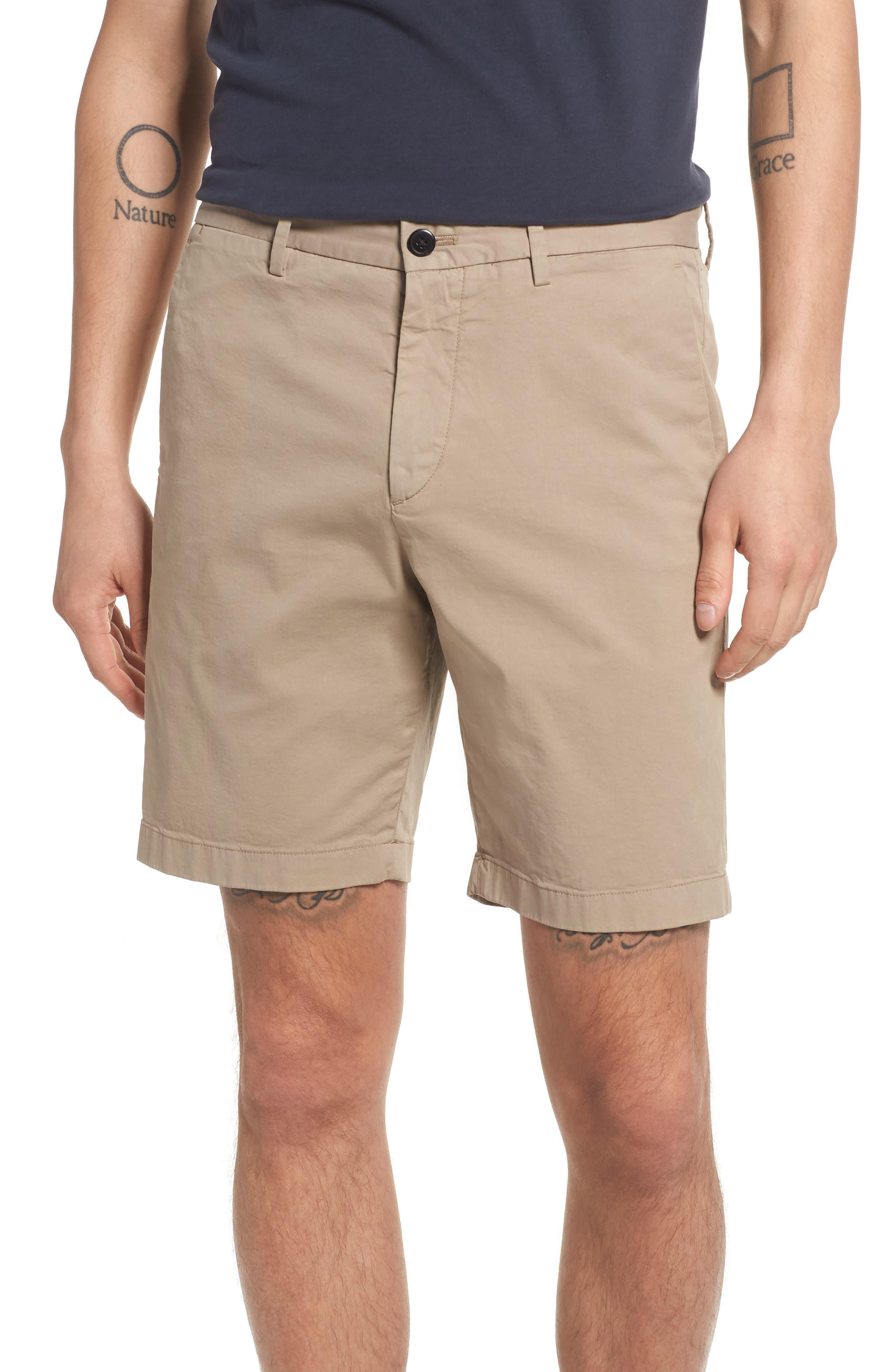 Zaine Stretch Cotton Shorts,                             Main thumbnail 1, color,                             Bark