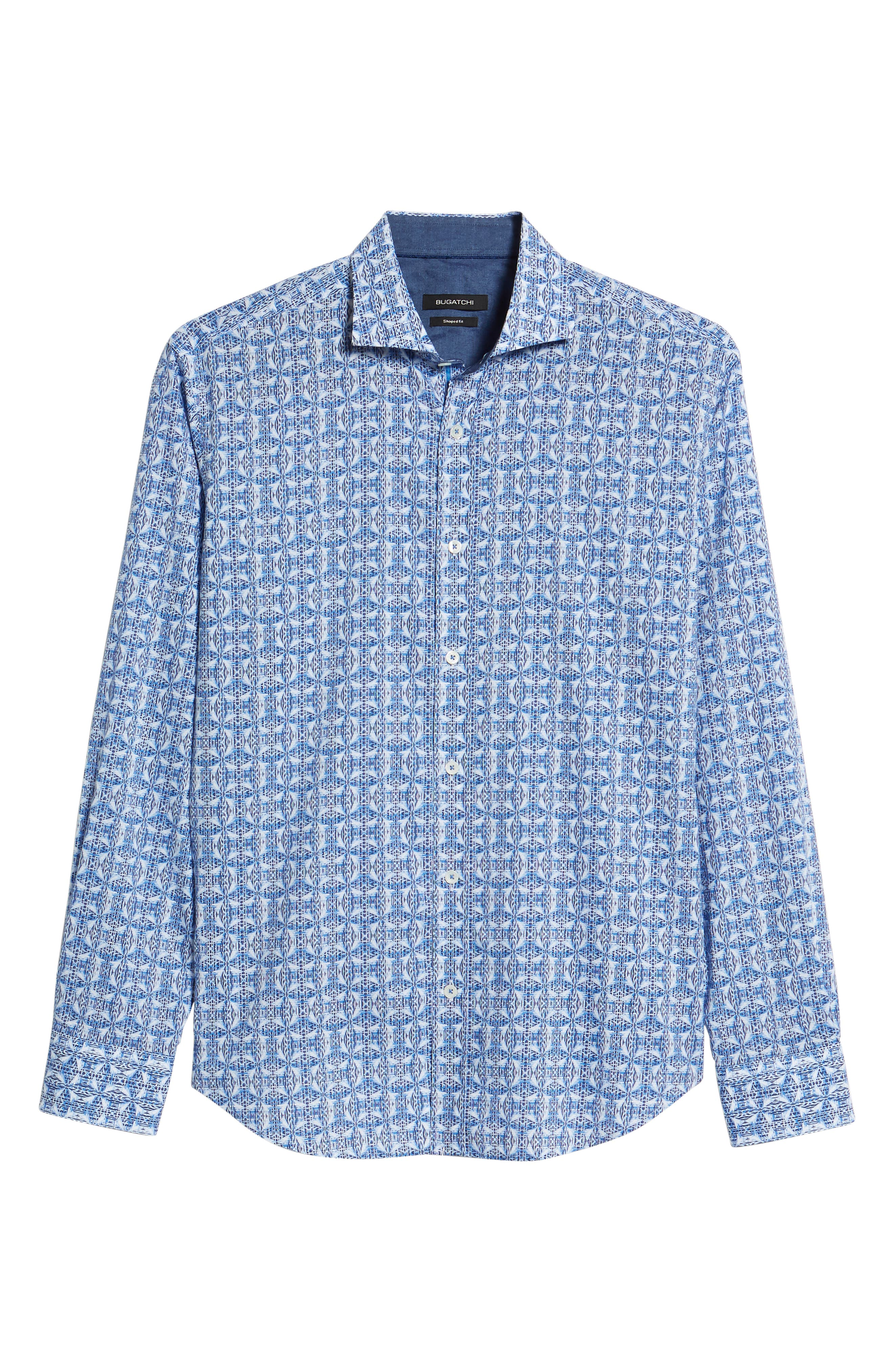 Shaped Fit Abstract Print Sport Shirt,                             Alternate thumbnail 6, color,                             Classic Blue