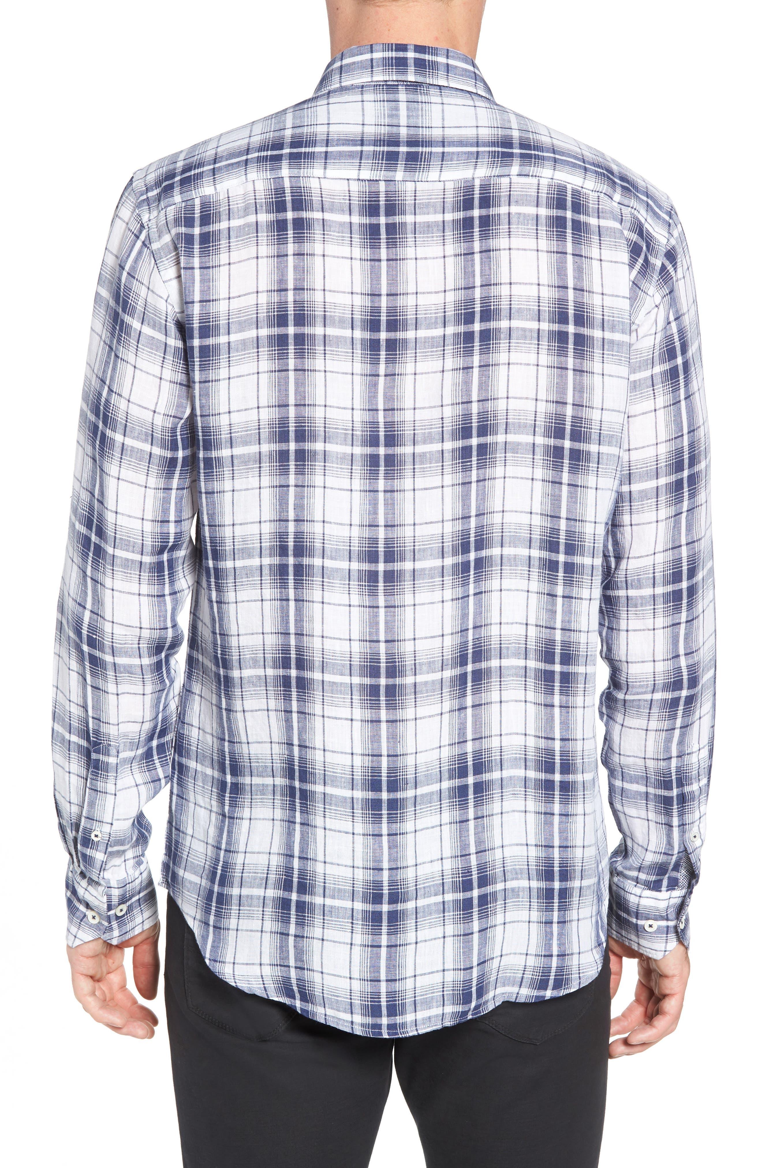Shaped Fit Plaid Linen Sport Shirt,                             Alternate thumbnail 3, color,                             Navy