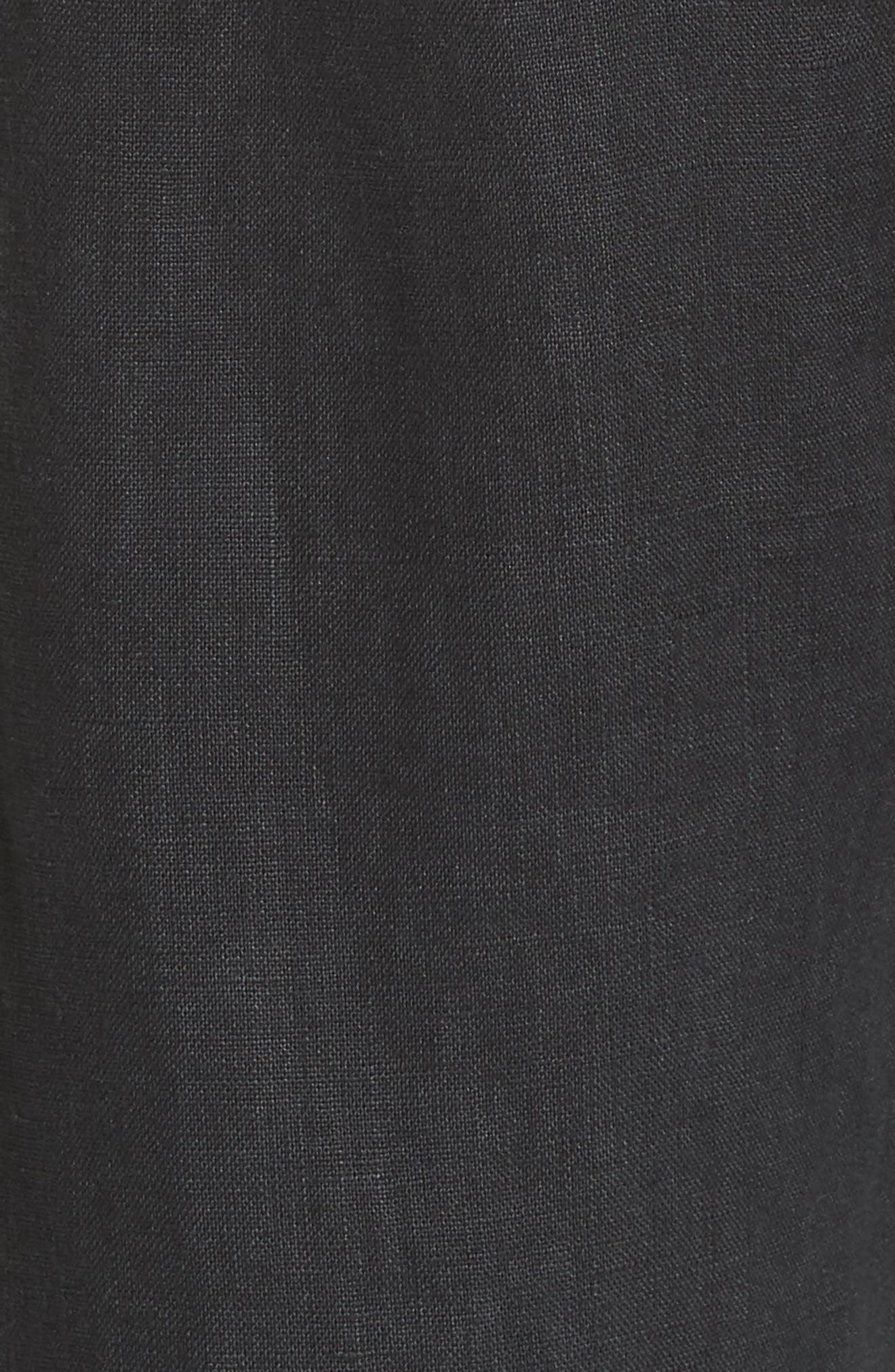 Erlette Linen Tie Cuff Crop Pants,                             Alternate thumbnail 5, color,                             Caviar