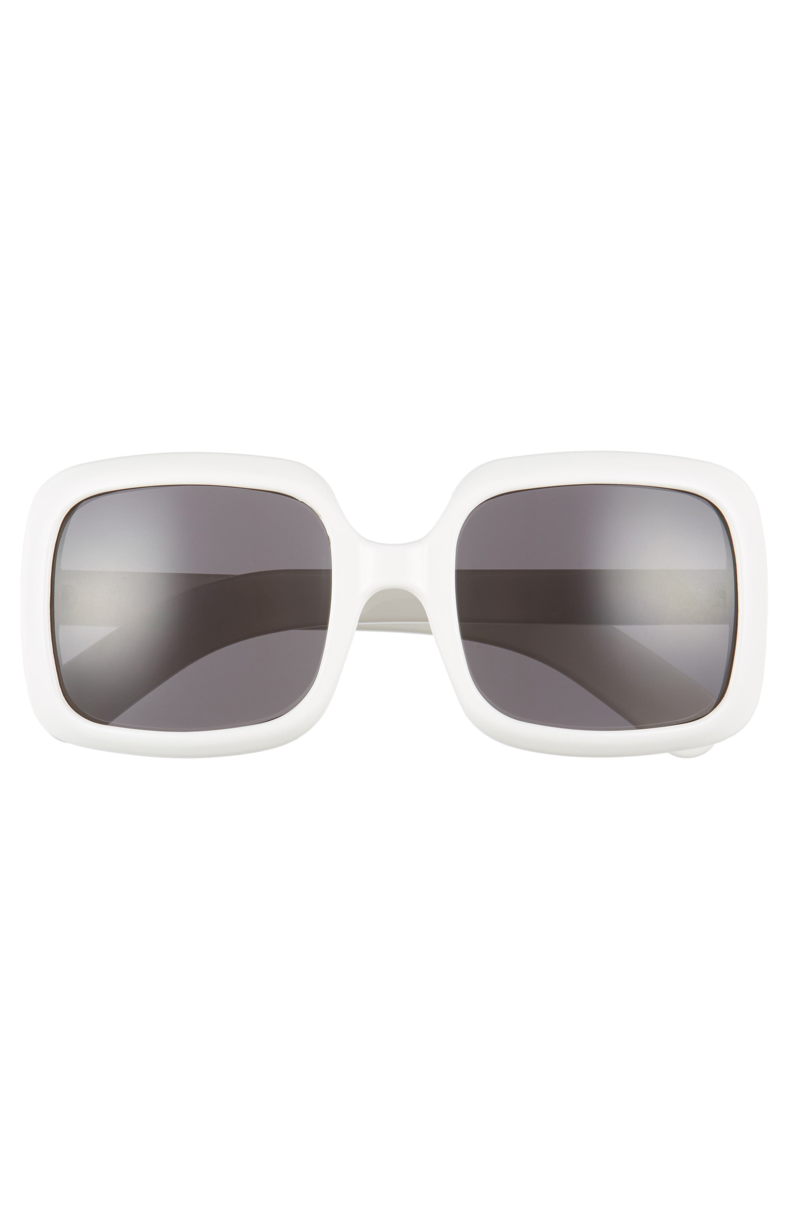 54mm Retro Square Sunglasses,                             Alternate thumbnail 3, color,                             White/ Black
