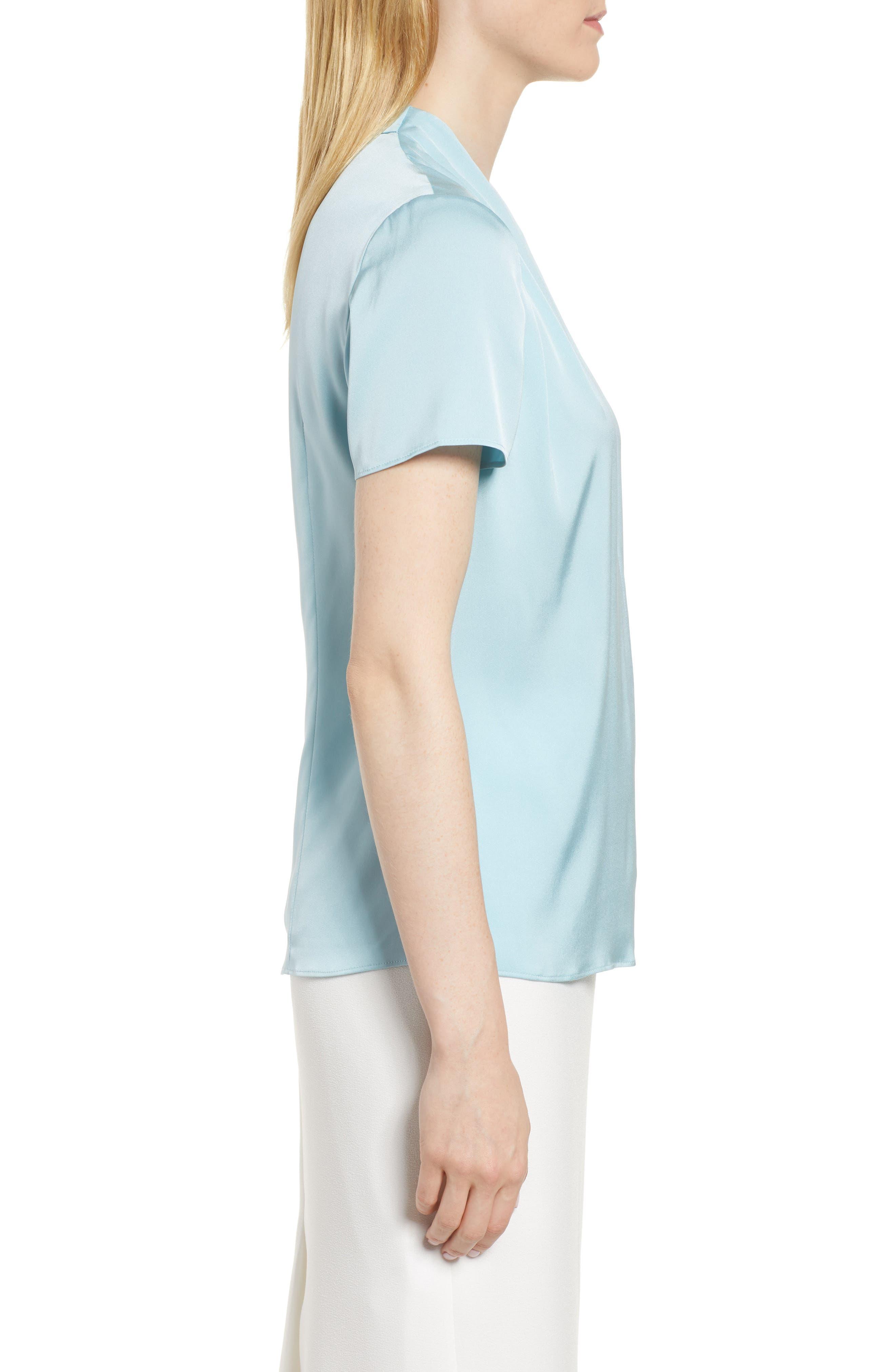 Insina Stretch Silk Blouse,                             Alternate thumbnail 3, color,                             Lagoon Blue