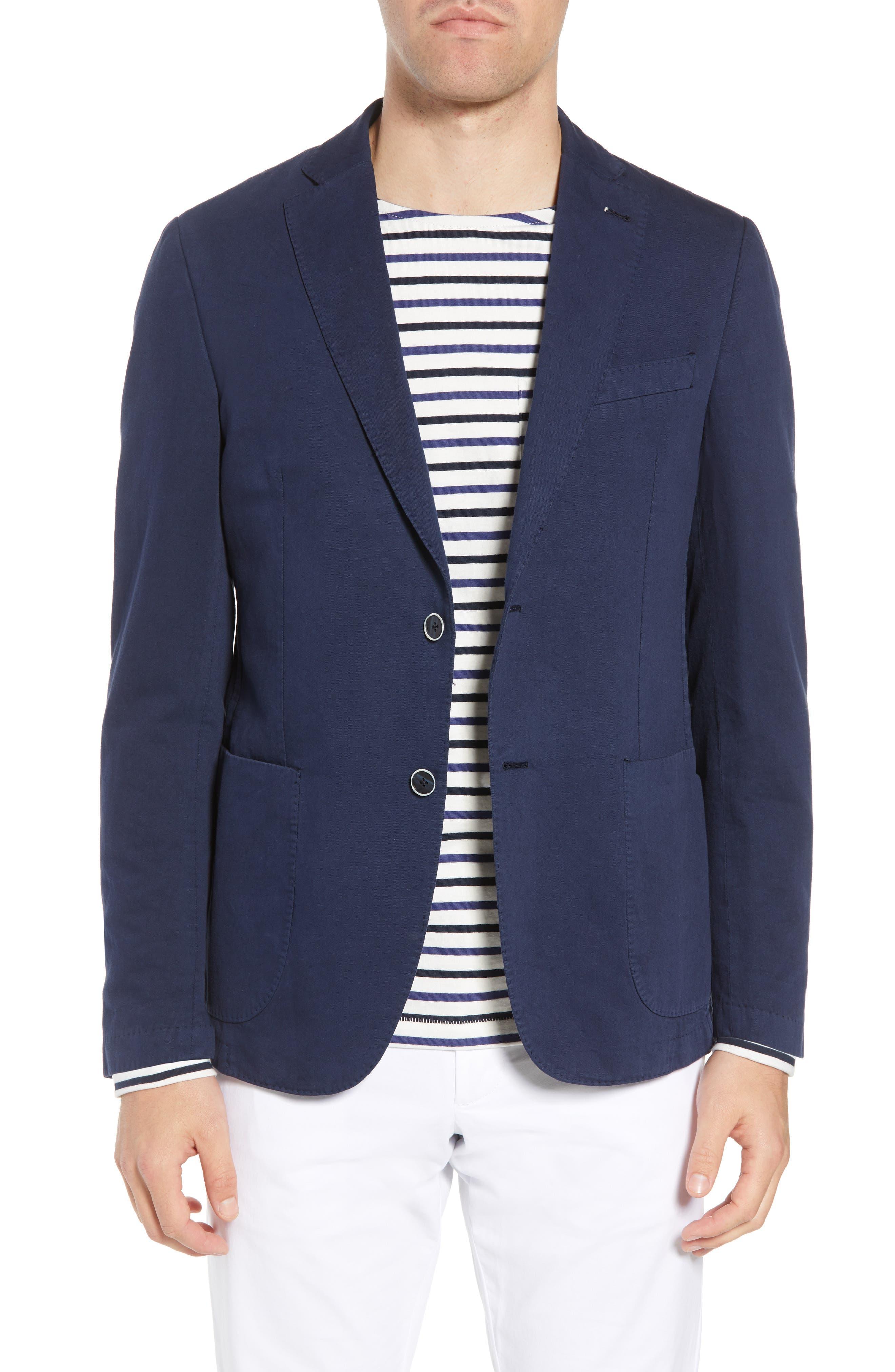 Unstructured Cotton & Linen Blazer,                         Main,                         color, Navy