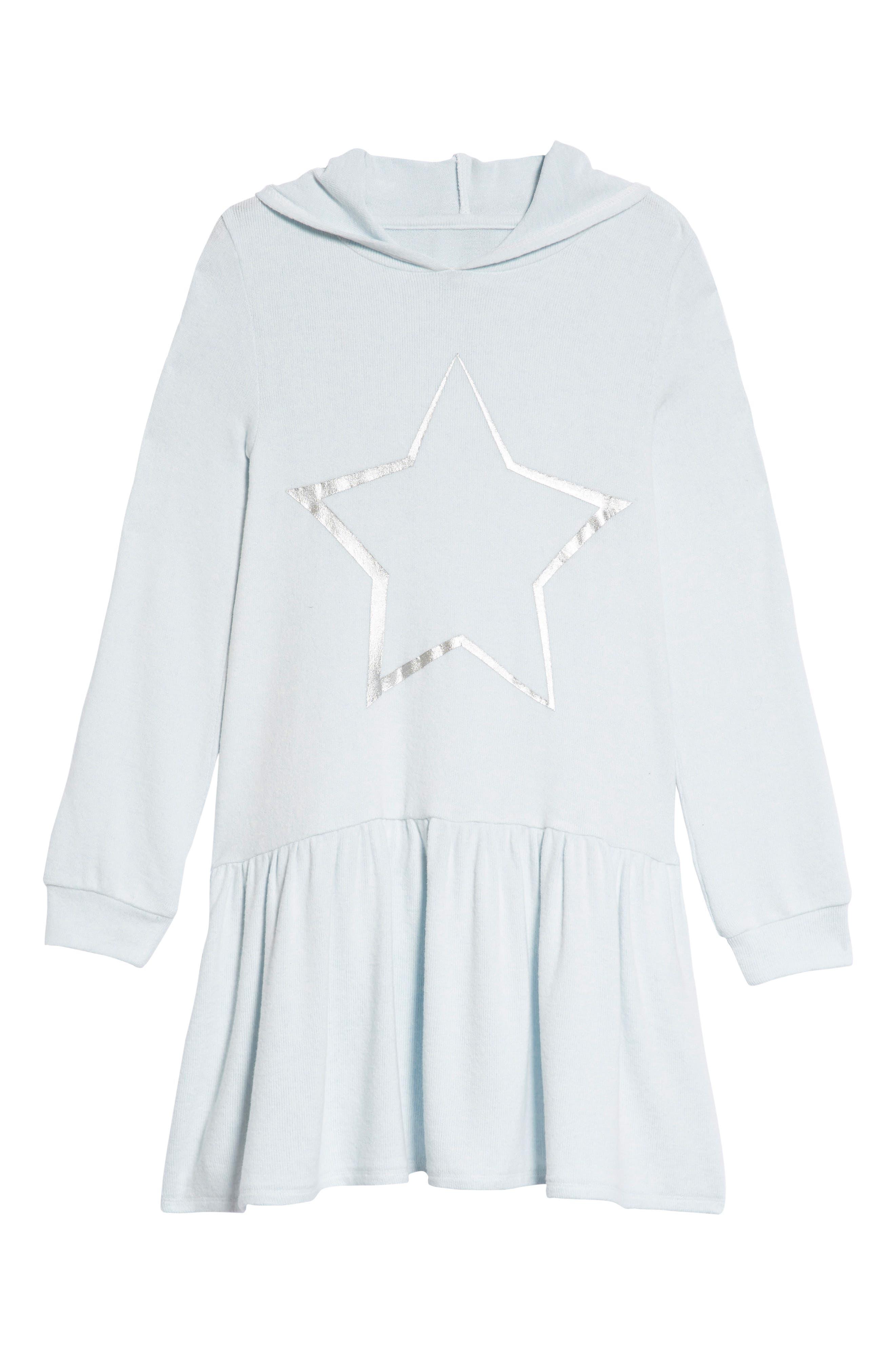 Cozy Hooded Dress,                         Main,                         color, Blue Drift Star