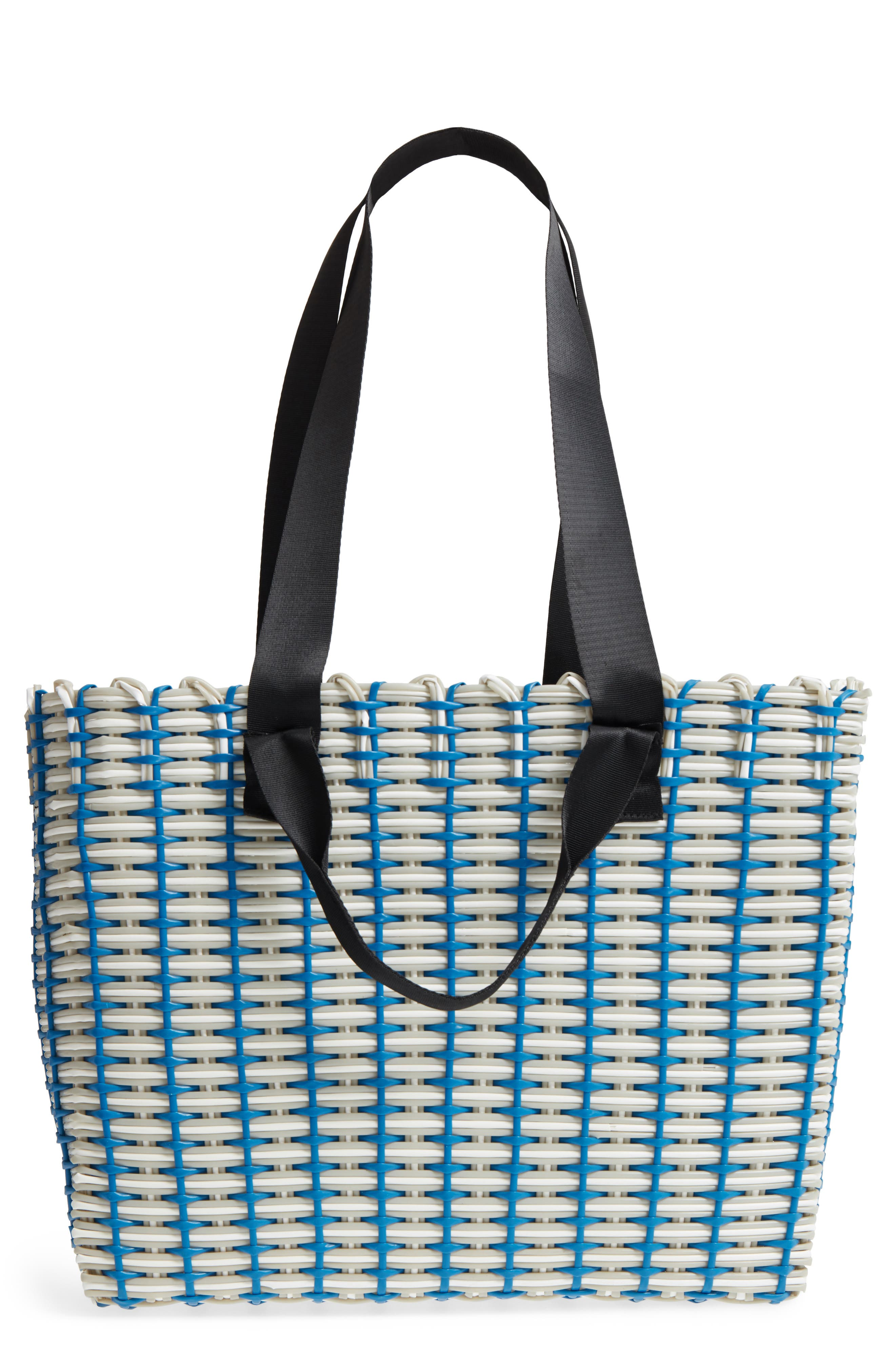 Stripe Woven Tote,                         Main,                         color, Navy Blue