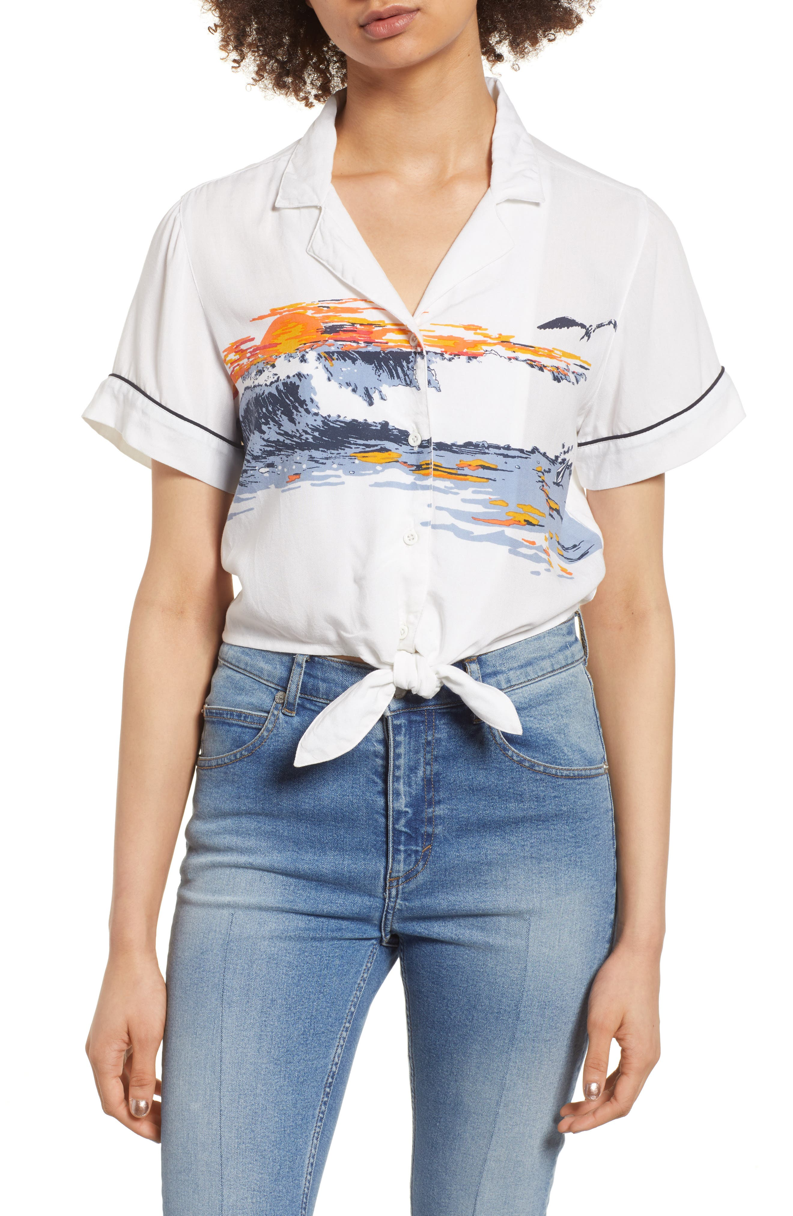 Stoney Sunset Print Top,                         Main,                         color, White