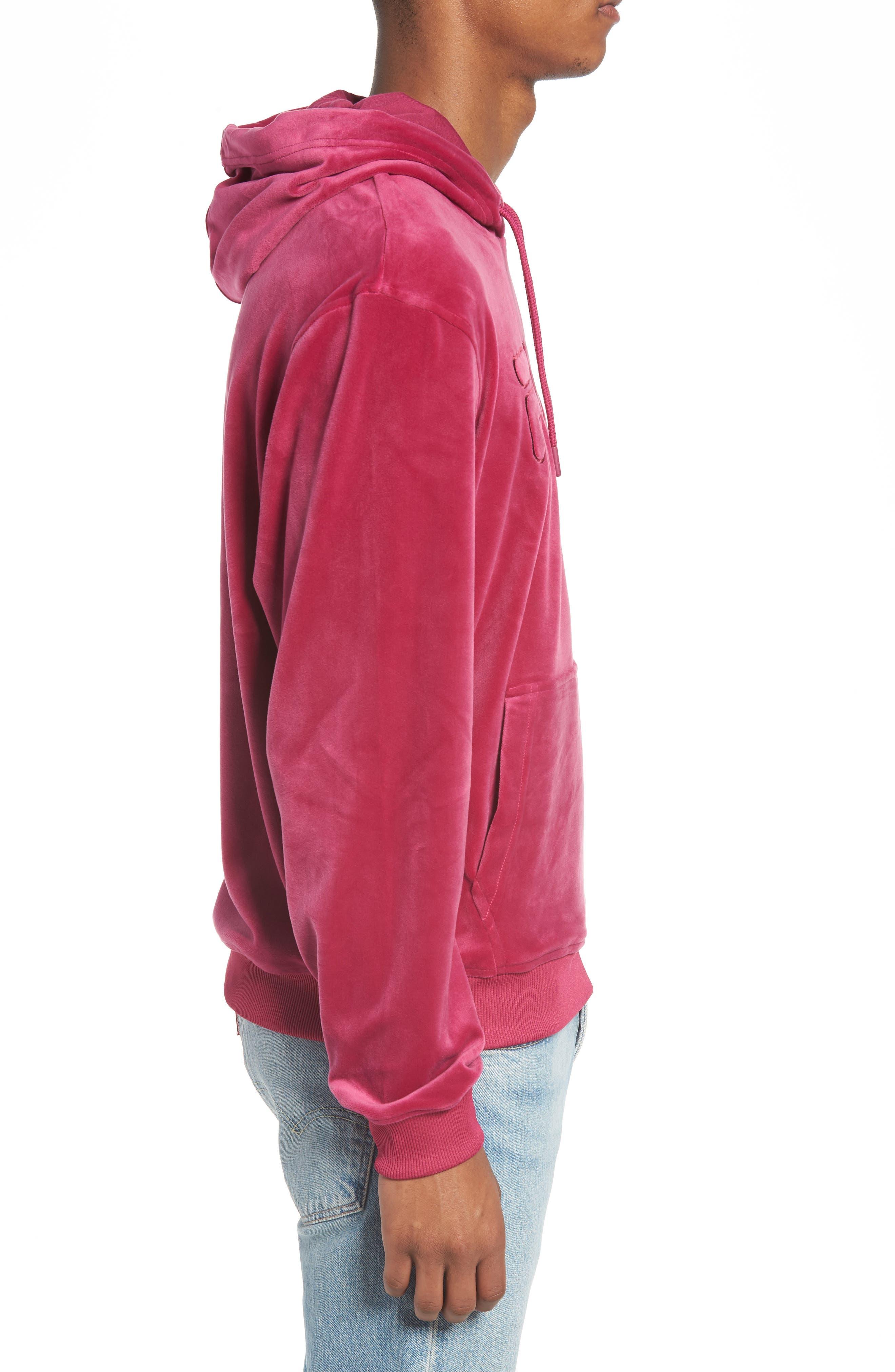 Asher Velour Hoodie Sweatshirt,                             Alternate thumbnail 3, color,                             Rasberry Radiance