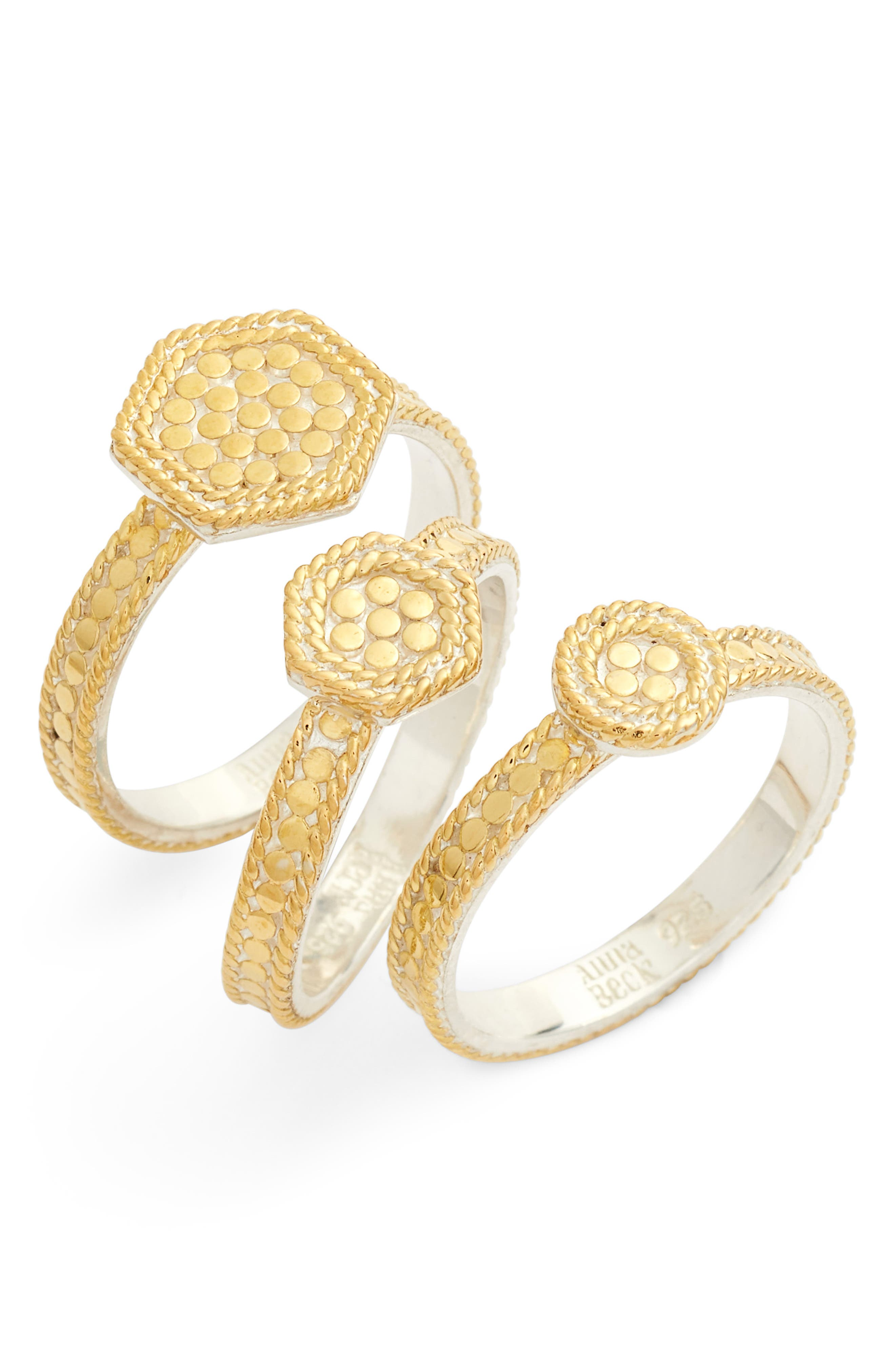 Gold Plate Geometric Set of 3 Stacking Rings,                         Main,                         color, Gold
