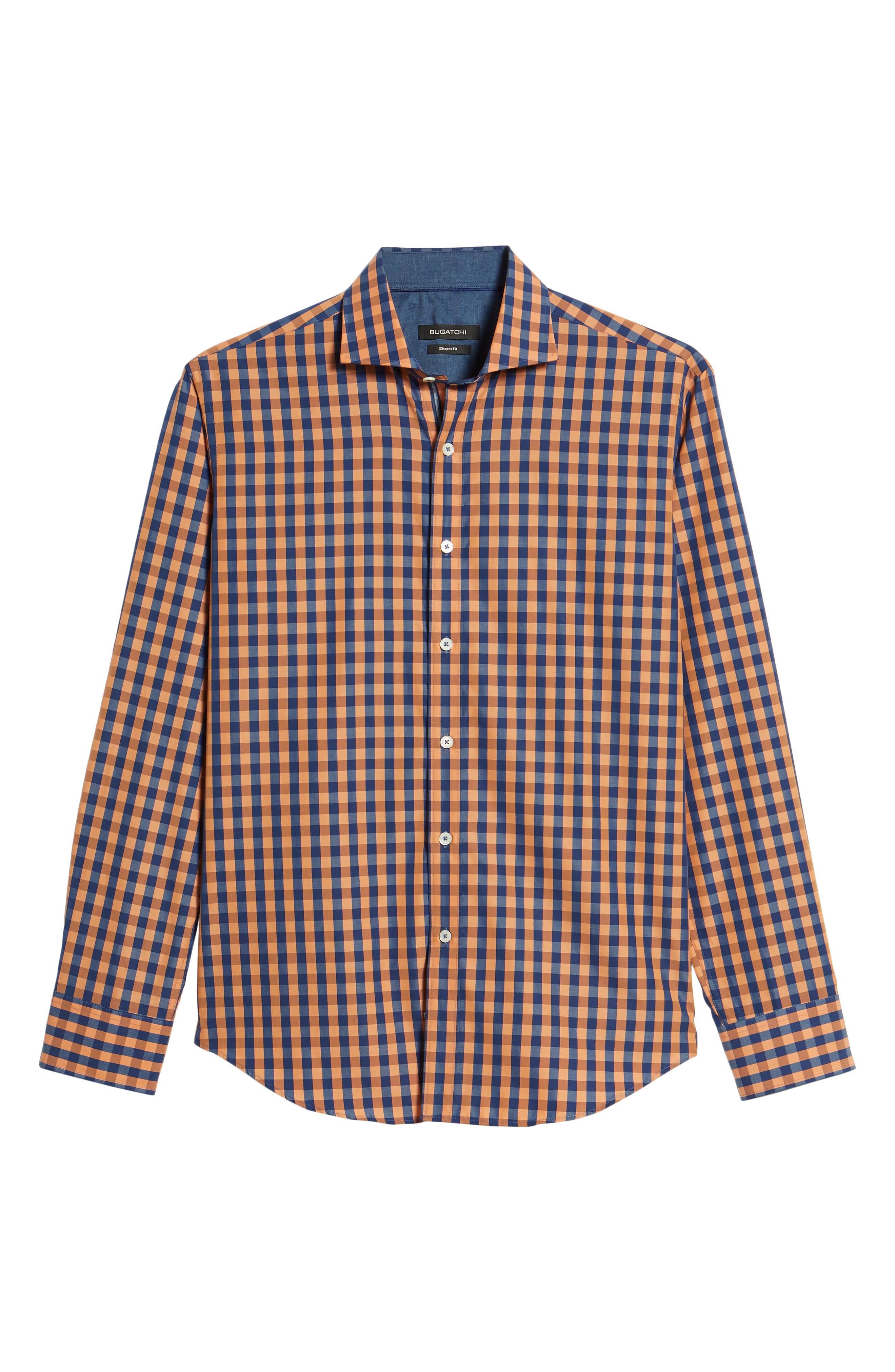 Shaped Fit Check Sport Shirt,                             Alternate thumbnail 6, color,                             Jaffa
