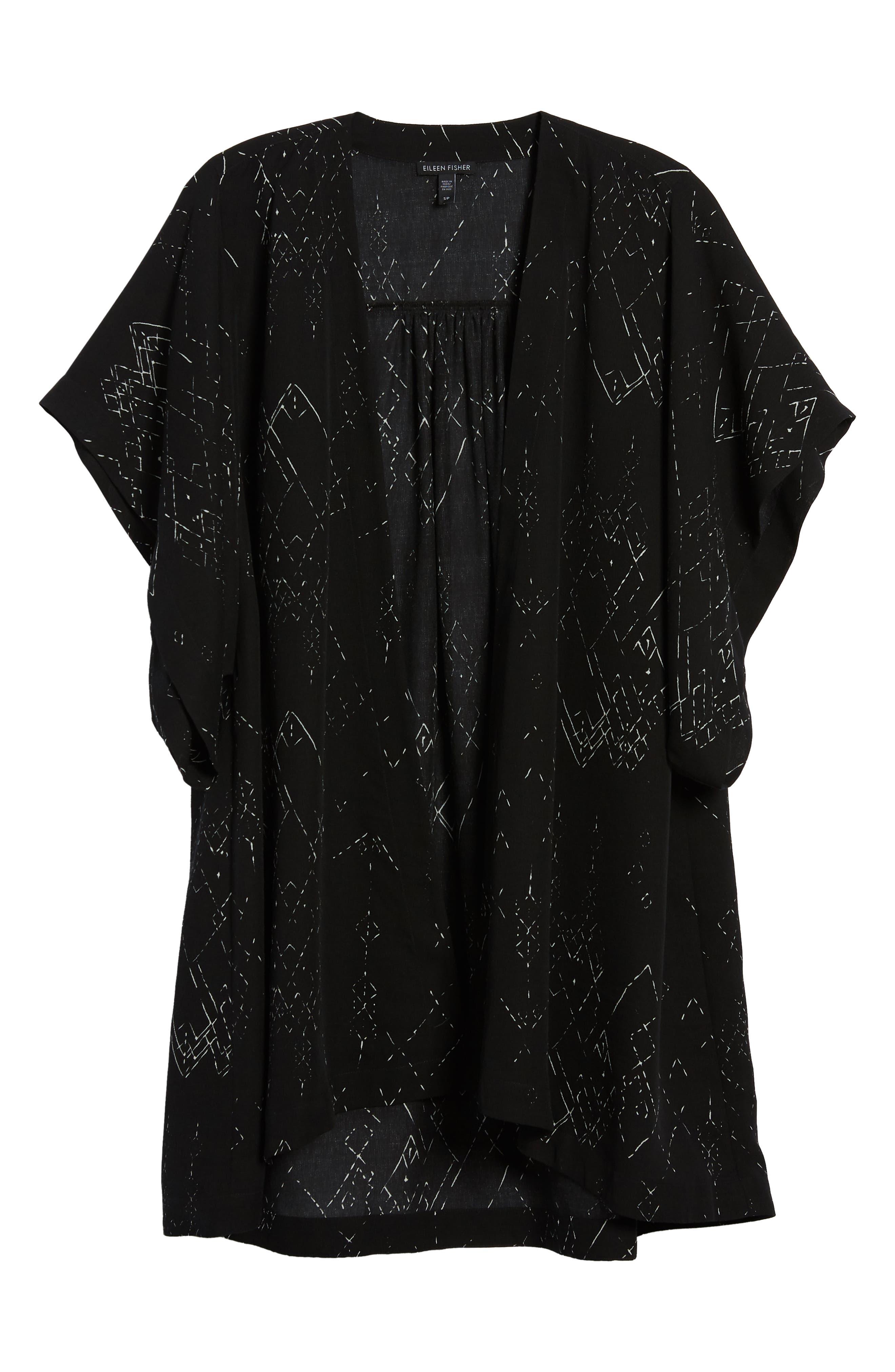 Long Silk Blend Kimono Jacket,                             Alternate thumbnail 7, color,                             Black