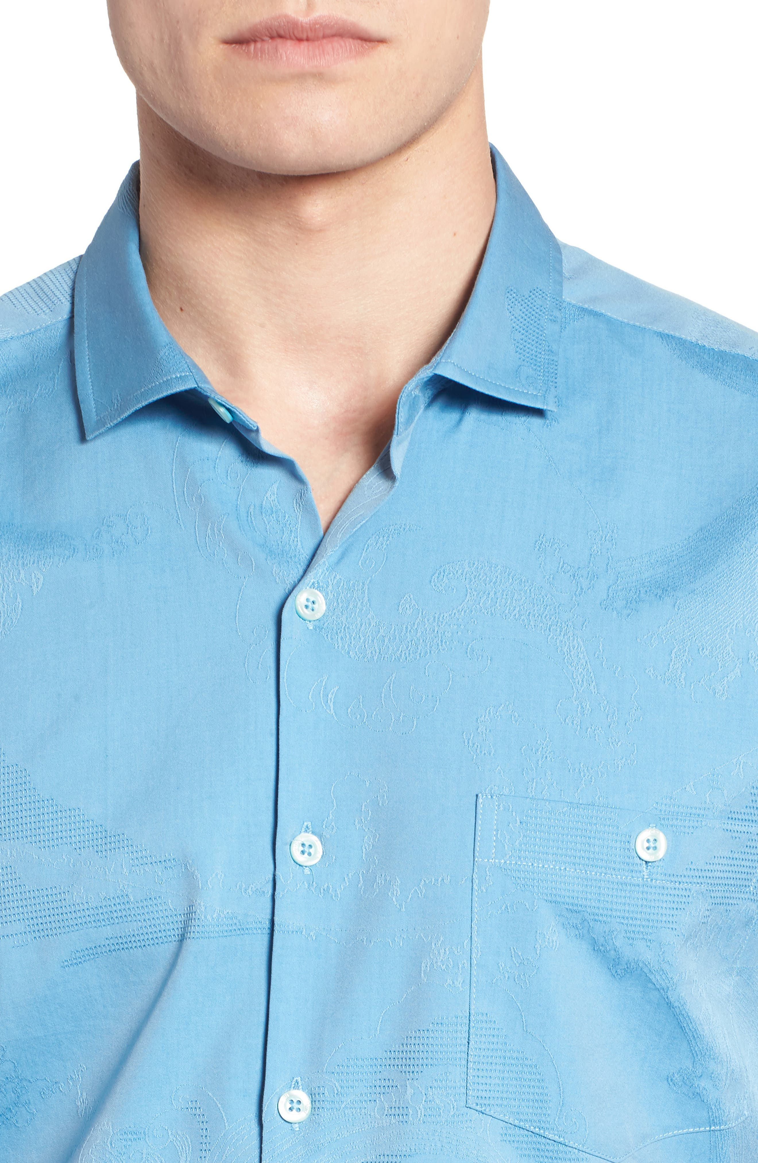 Seas the Day Trim Fit Cotton & Silk Camp Shirt,                             Alternate thumbnail 2, color,                             Wave