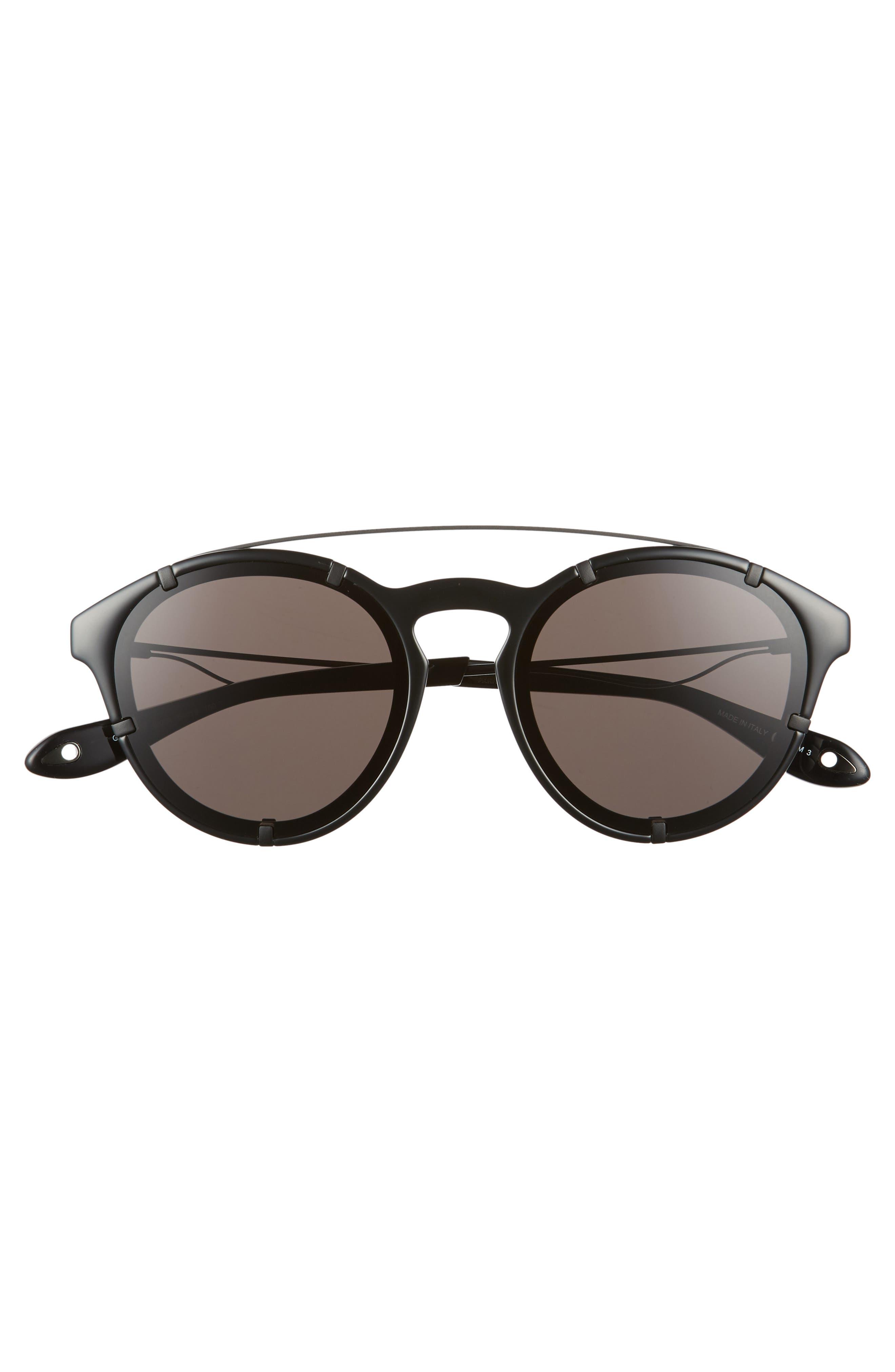 54mm Round Polarized Sunglasses,                             Alternate thumbnail 3, color,                             Black