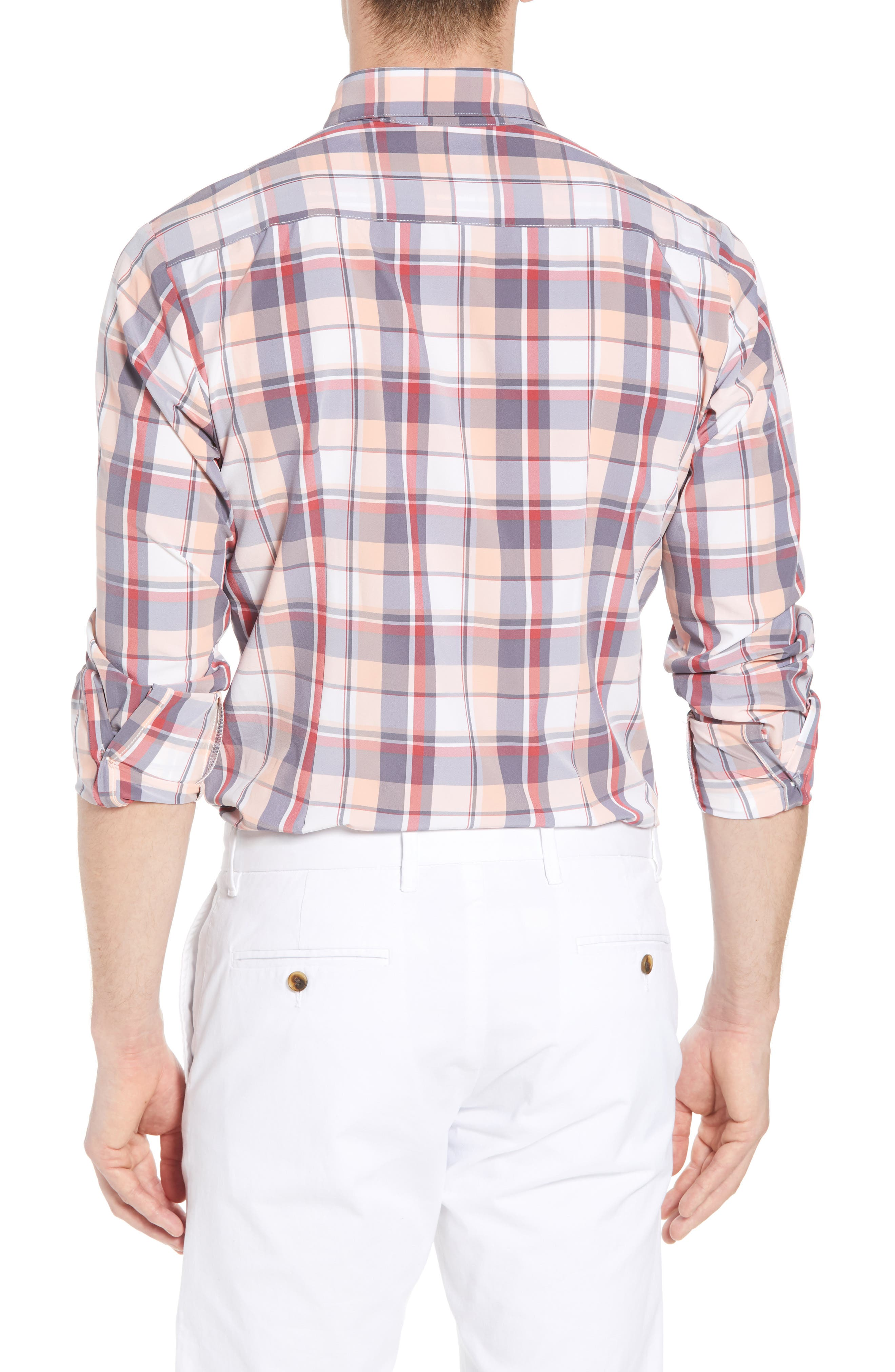 Brazos Slim Fit Madras Plaid Performance Sport Shirt,                             Alternate thumbnail 3, color,                             Peach