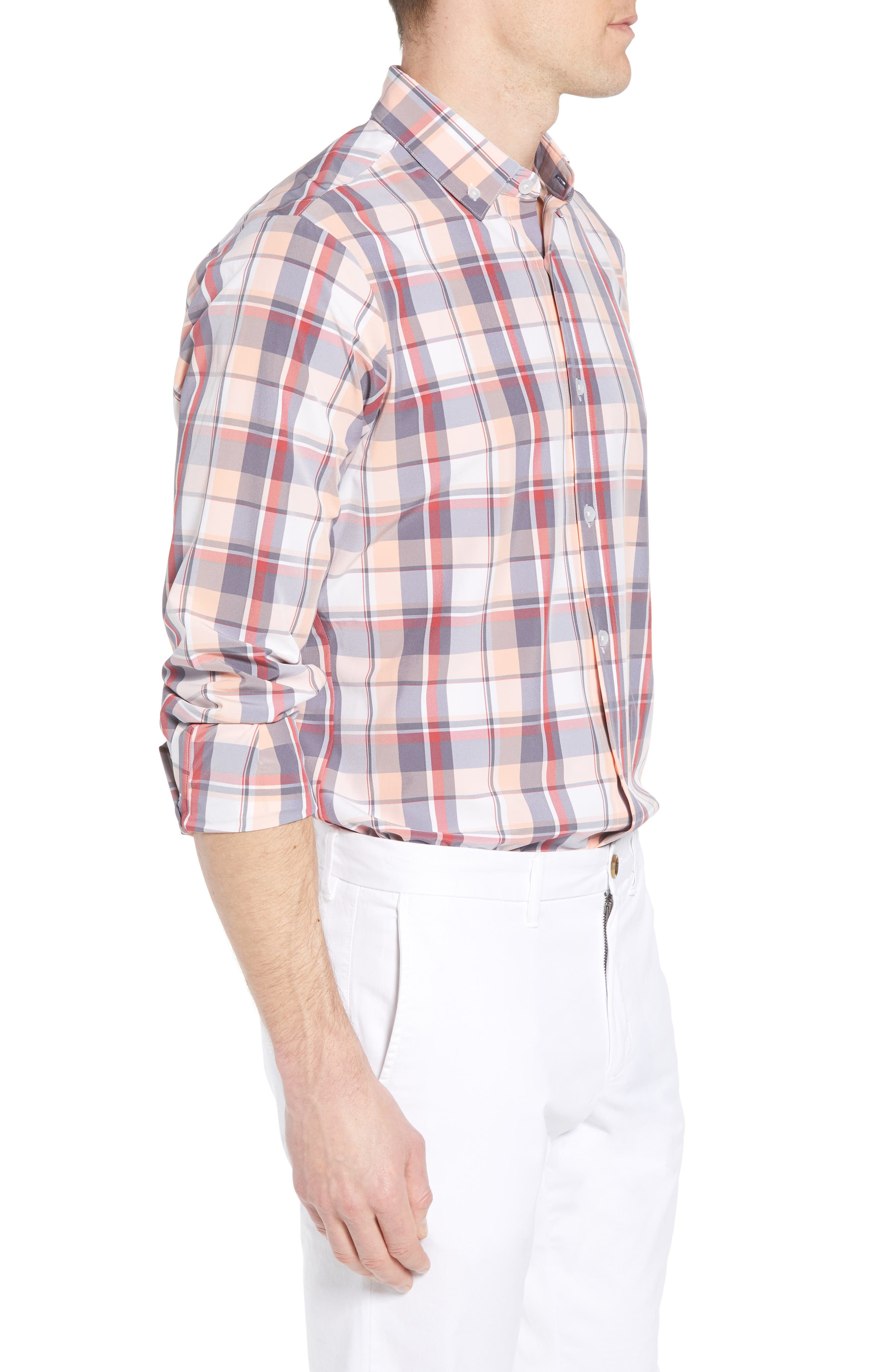 Brazos Slim Fit Madras Plaid Performance Sport Shirt,                             Alternate thumbnail 4, color,                             Peach