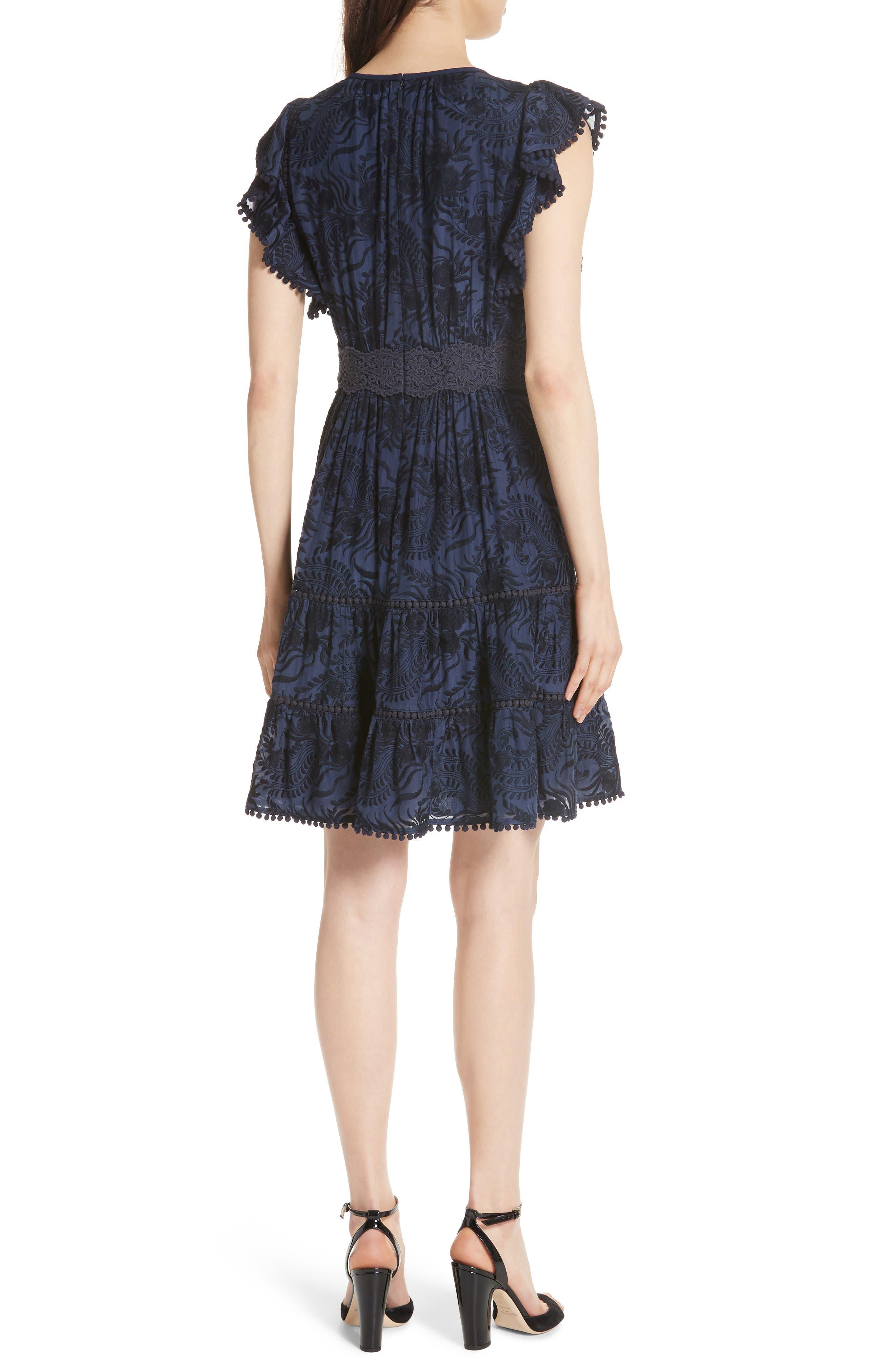 jenette cotton silk fit & flare dress,                             Alternate thumbnail 2, color,                             Rich Navy