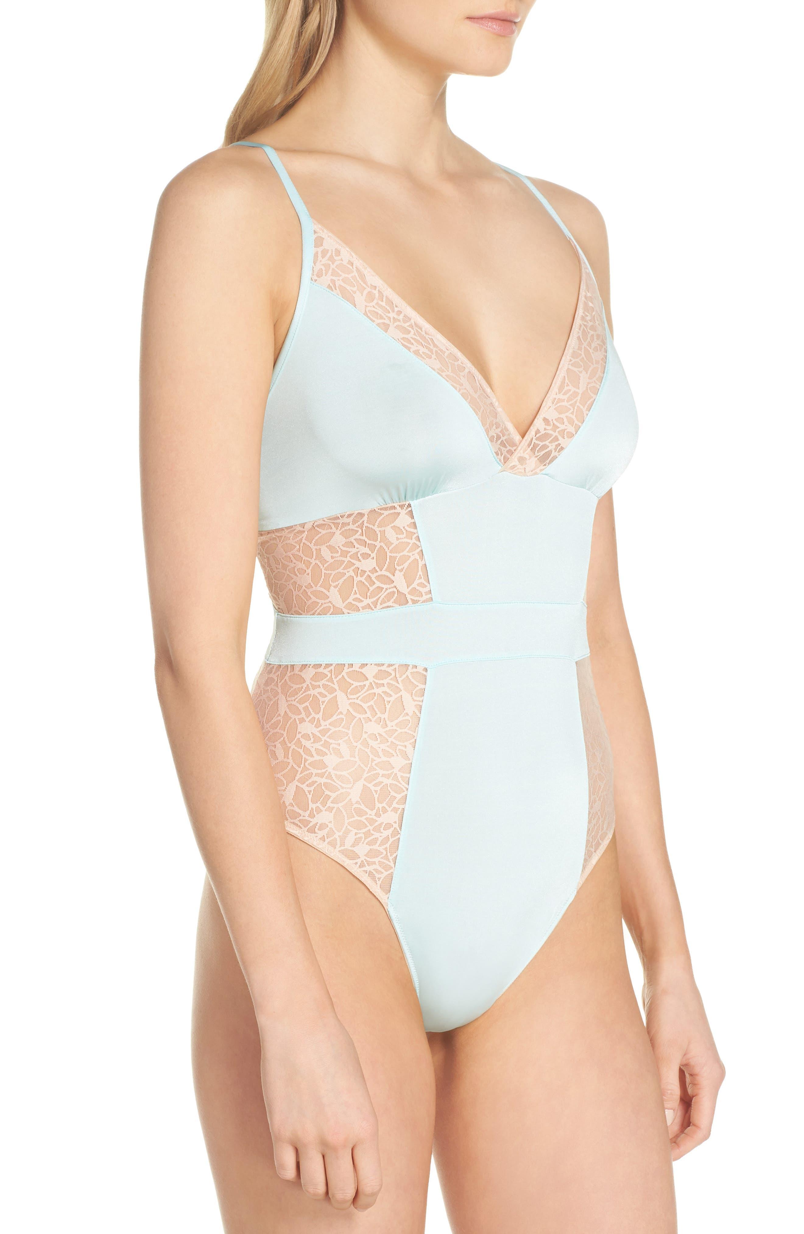 Satin Lace Bodysuit,                             Alternate thumbnail 3, color,                             Blue Plume/ Pink Dust