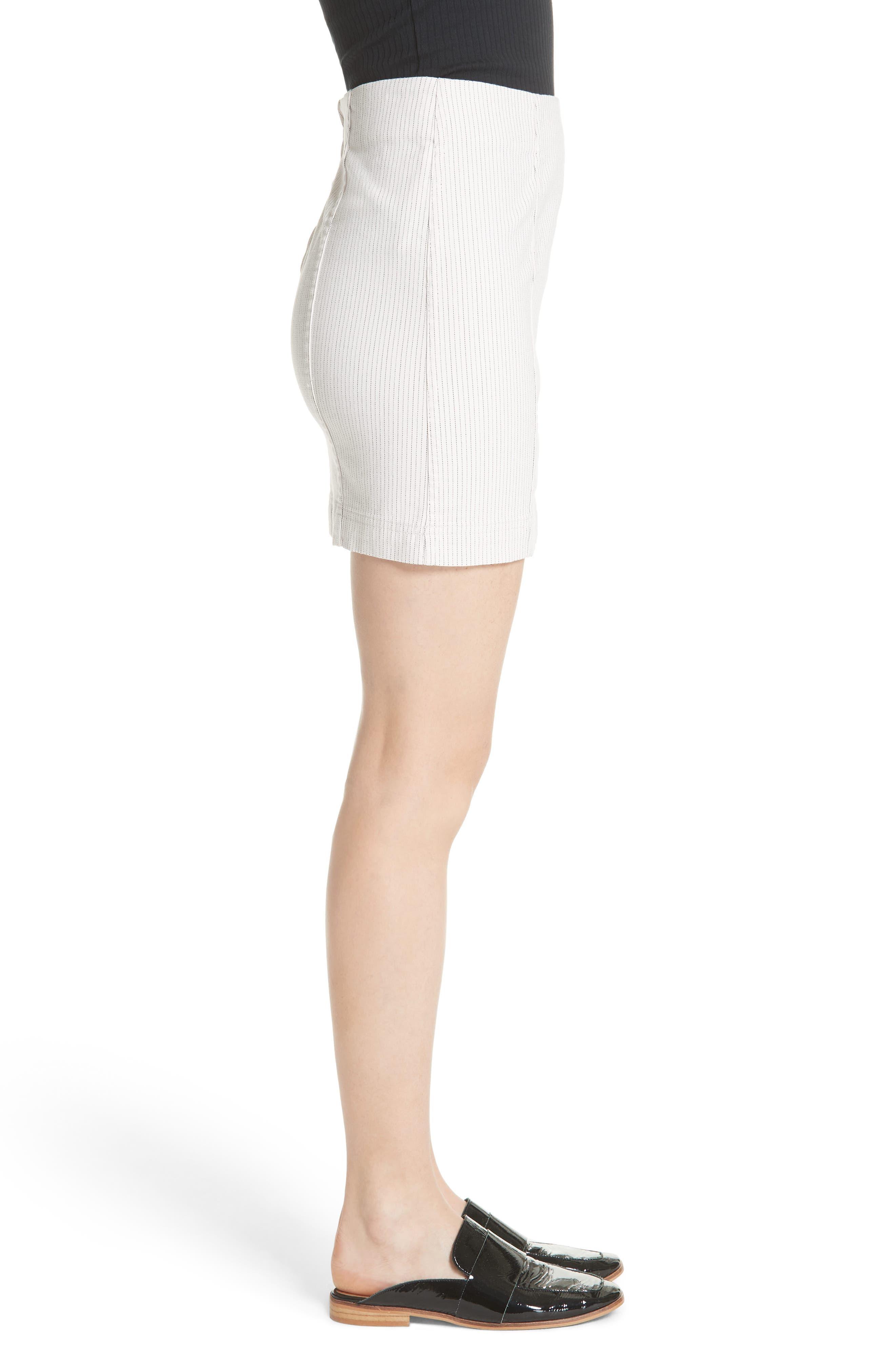 Modern Femme Pinstripe Skirt,                             Alternate thumbnail 3, color,                             Black And White Combo