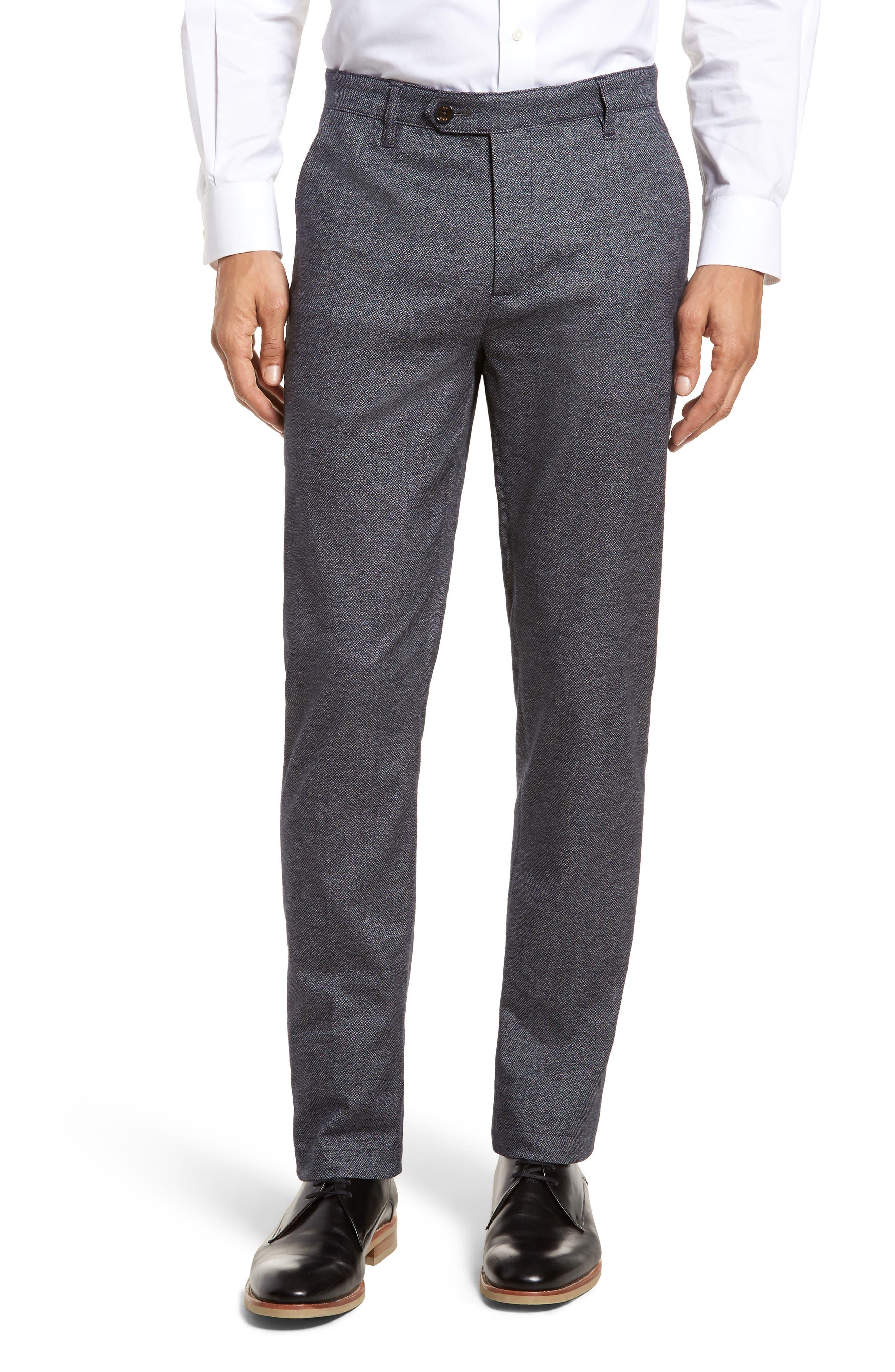 Pintztt Flat Front Stretch Solid Cotton Pants,                             Main thumbnail 1, color,                             Navy