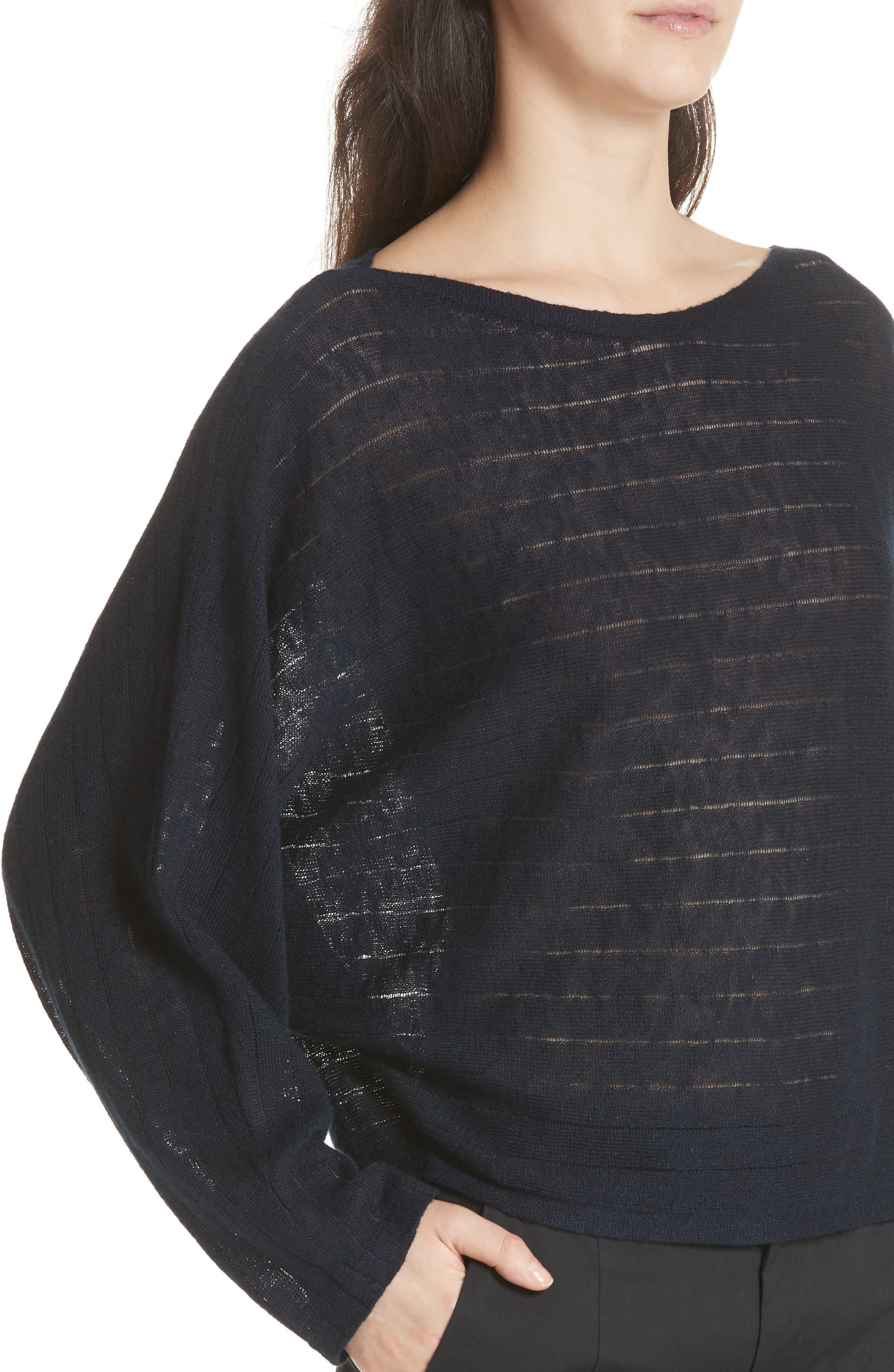 Ramie Cotton Sweater,                             Alternate thumbnail 4, color,                             Midnight