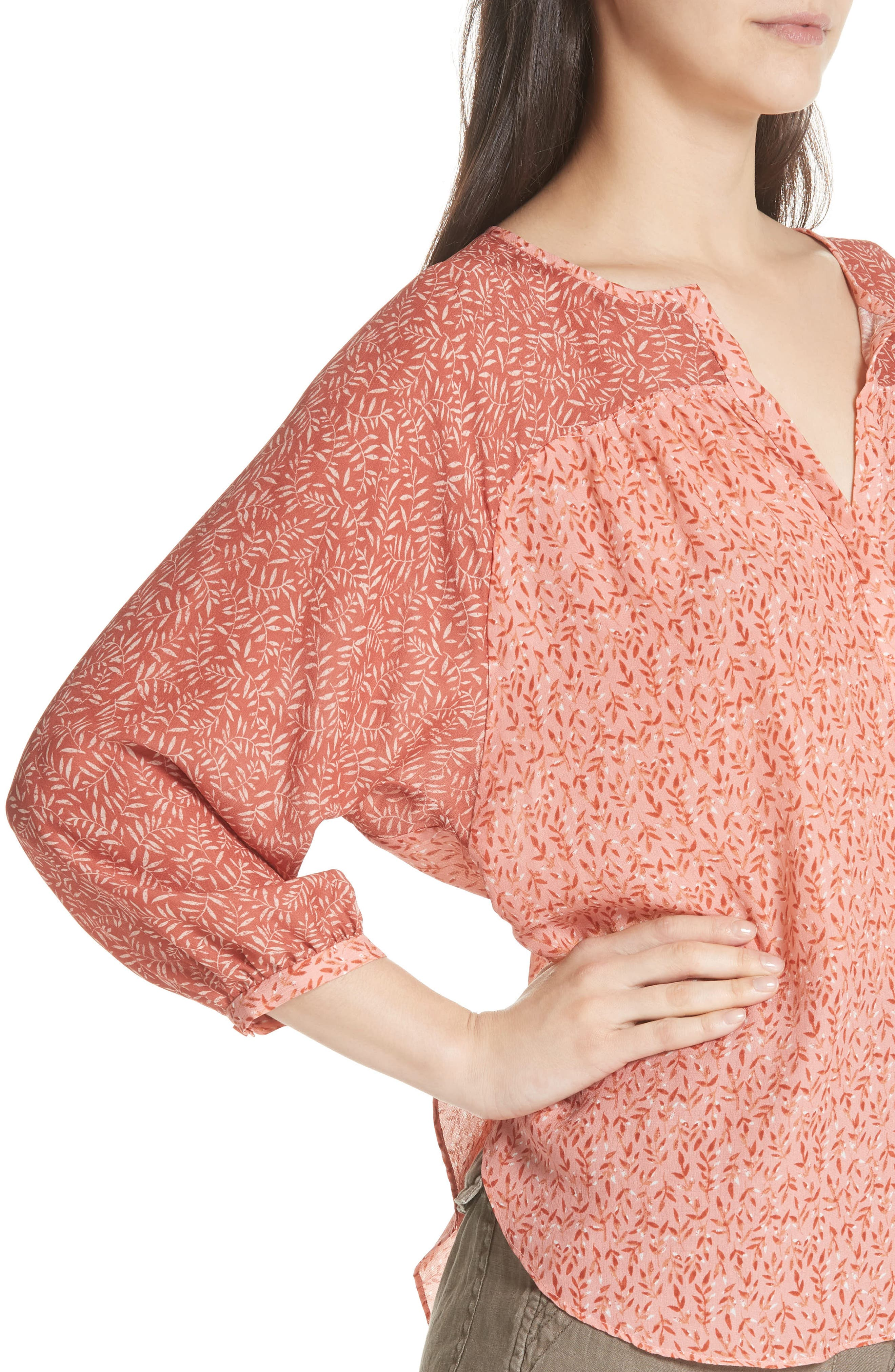 Jafeth Reverse Pattern Silk Peasant Top,                             Alternate thumbnail 4, color,                             Cinnamon