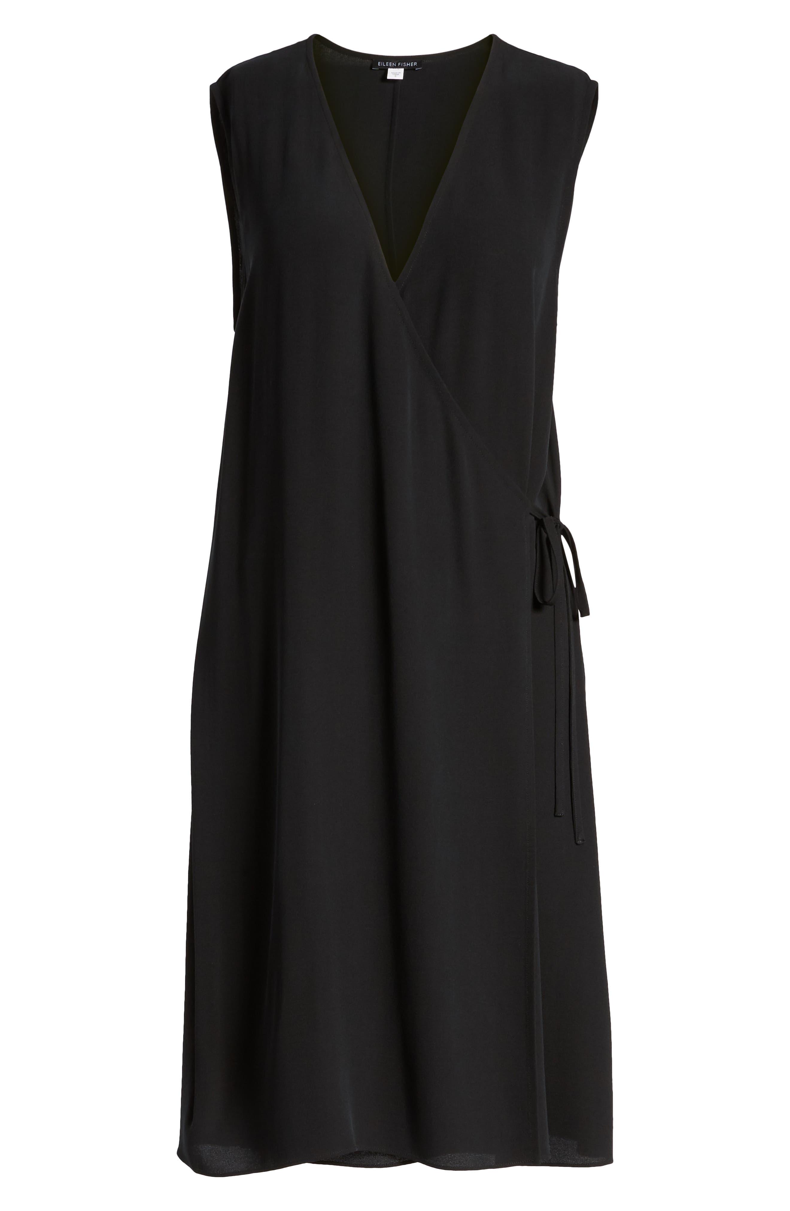 Silk Wrap Dress,                             Alternate thumbnail 7, color,                             Black