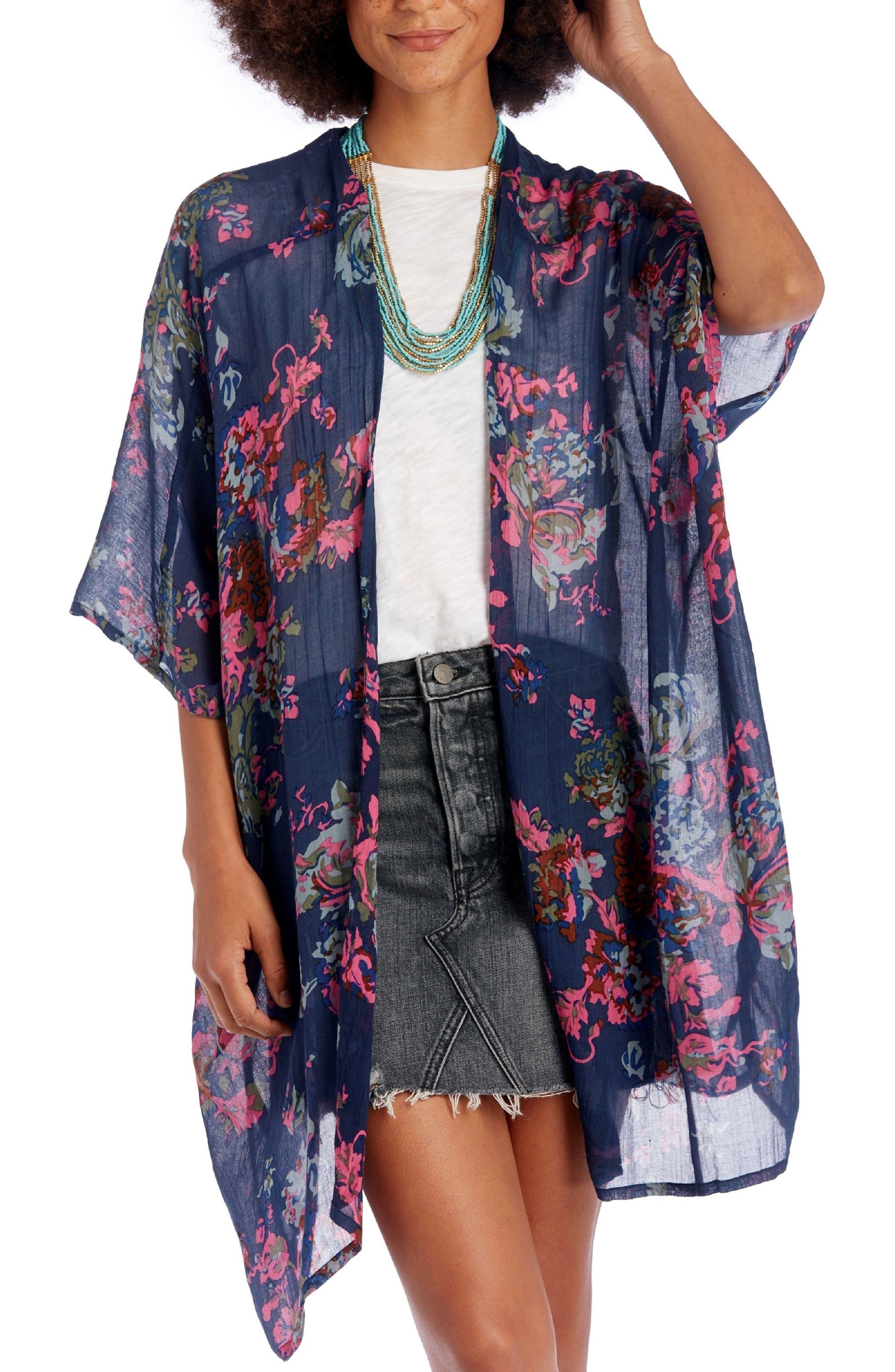 Falling Floral Kimono,                             Main thumbnail 1, color,                             Navy Multi
