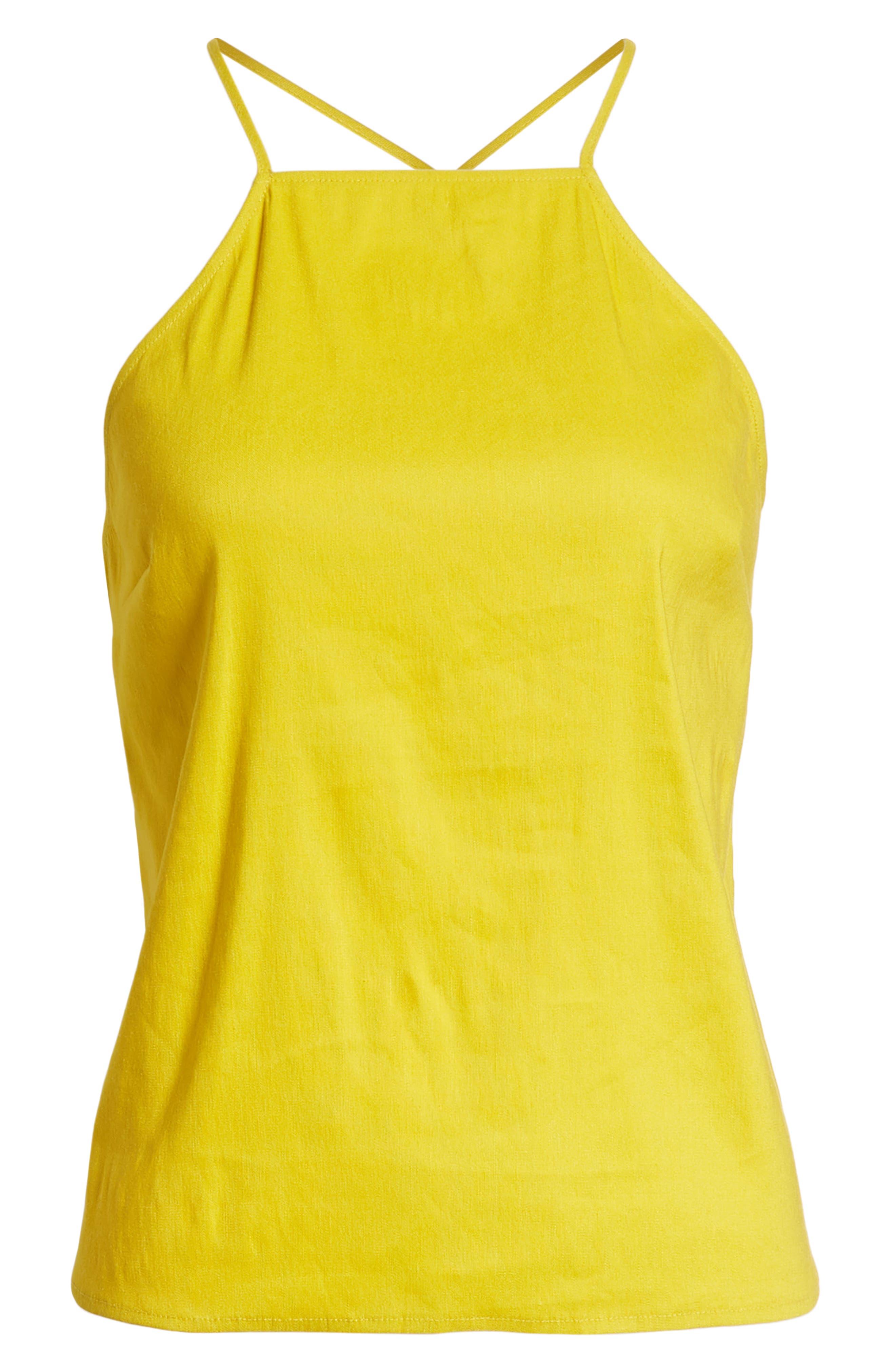 Linen Cami,                             Alternate thumbnail 7, color,                             Yellow Tea