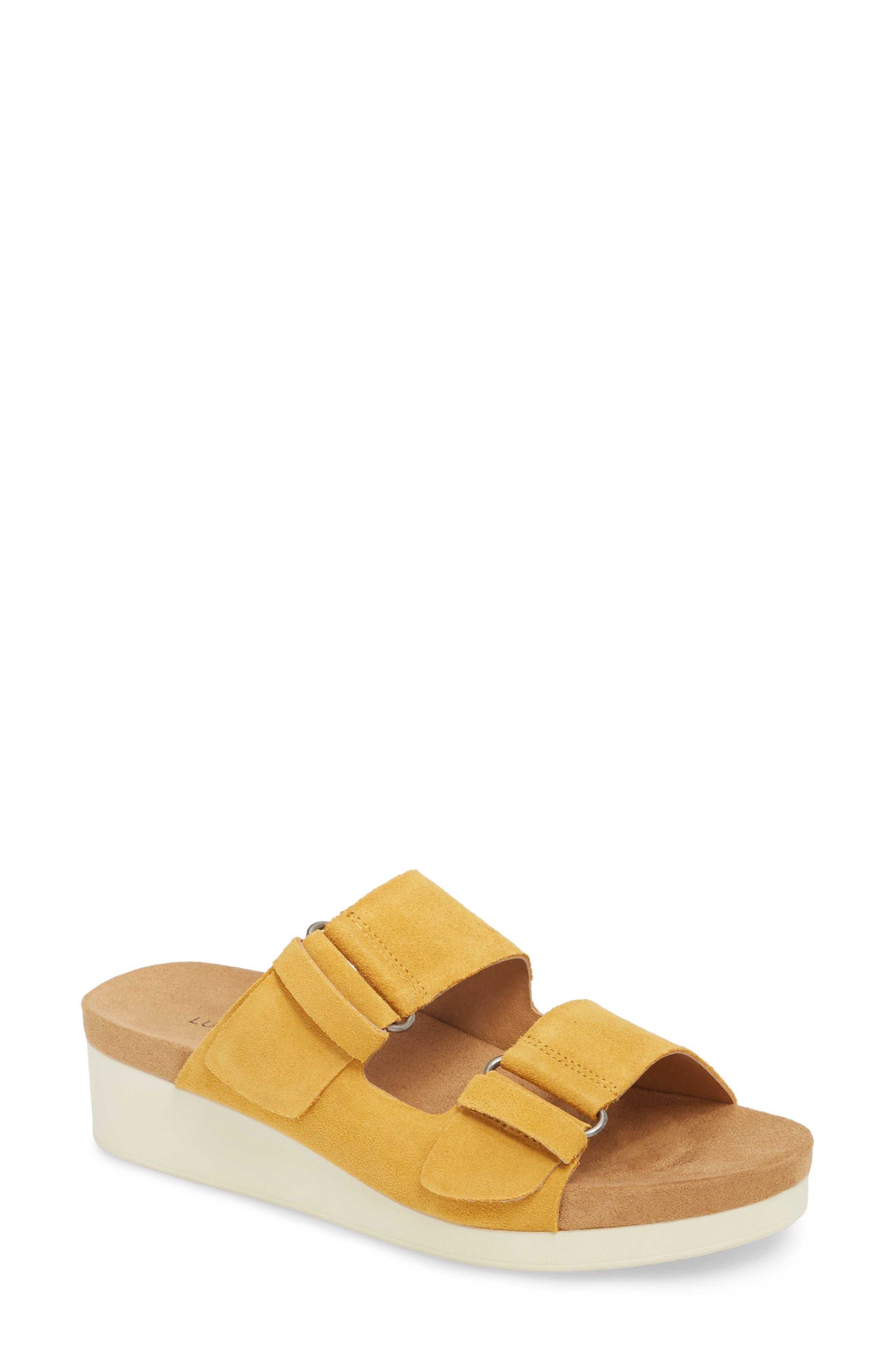 Feniya Sandal,                         Main,                         color, Saffron Suede