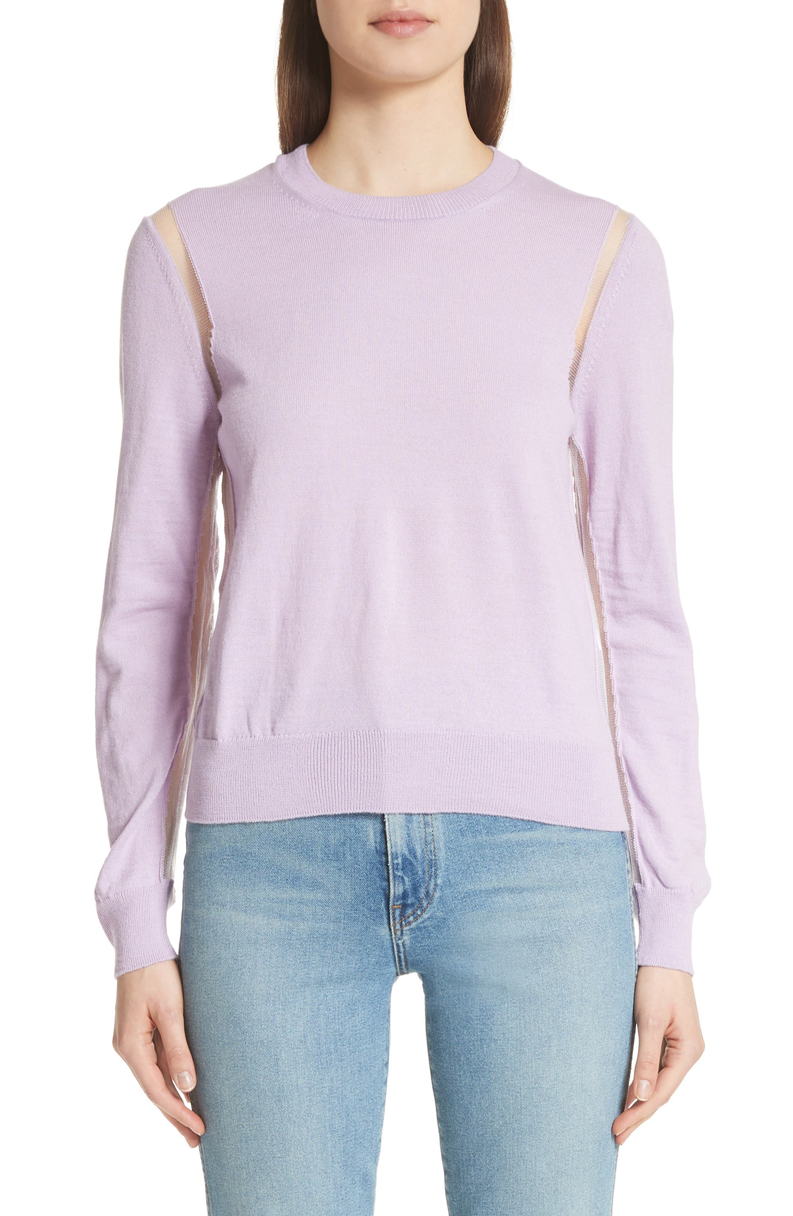 Sheer Panel Crewneck Sweater,                             Main thumbnail 1, color,                             Purple