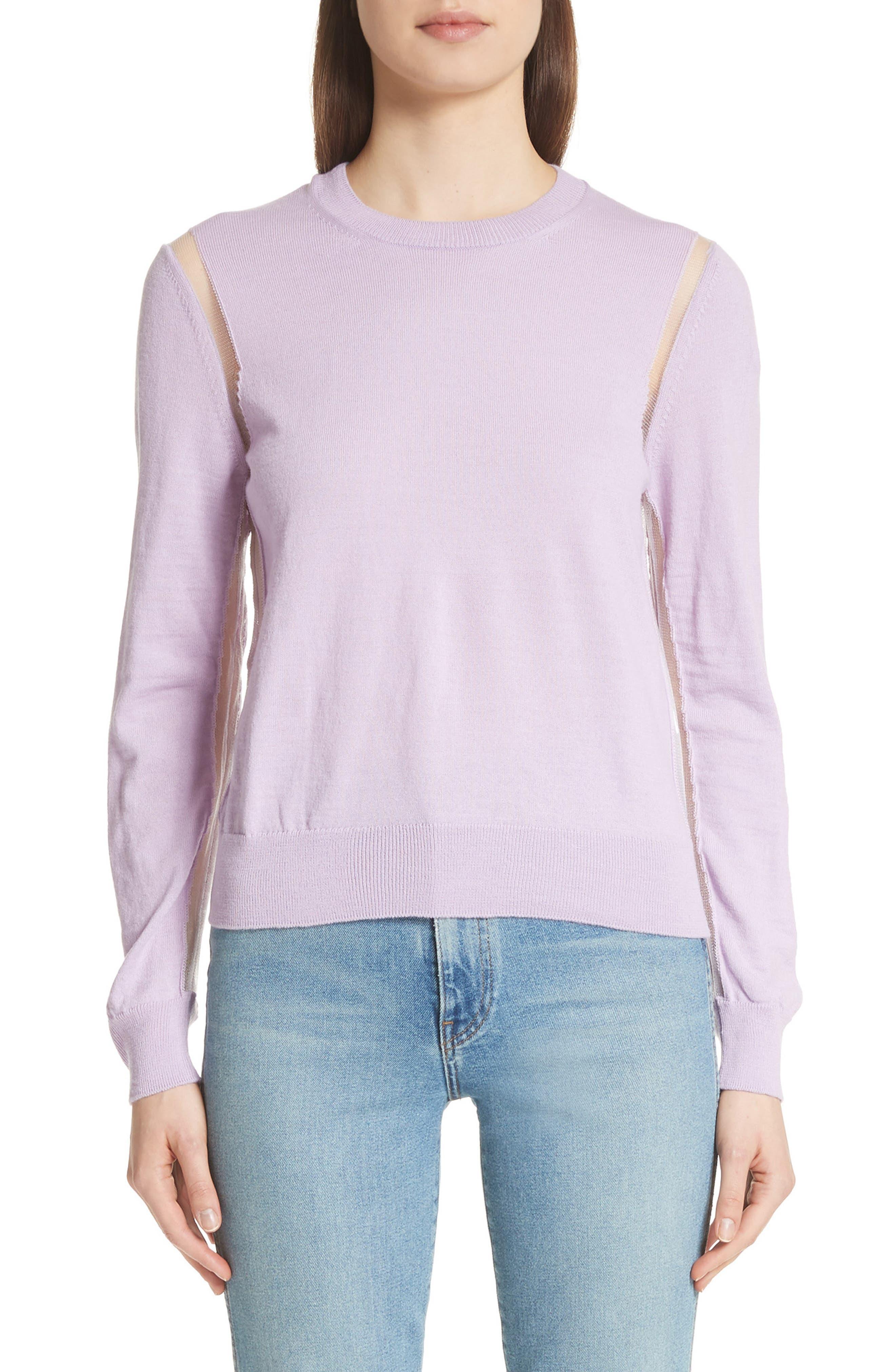 Sheer Panel Crewneck Sweater,                         Main,                         color, Purple